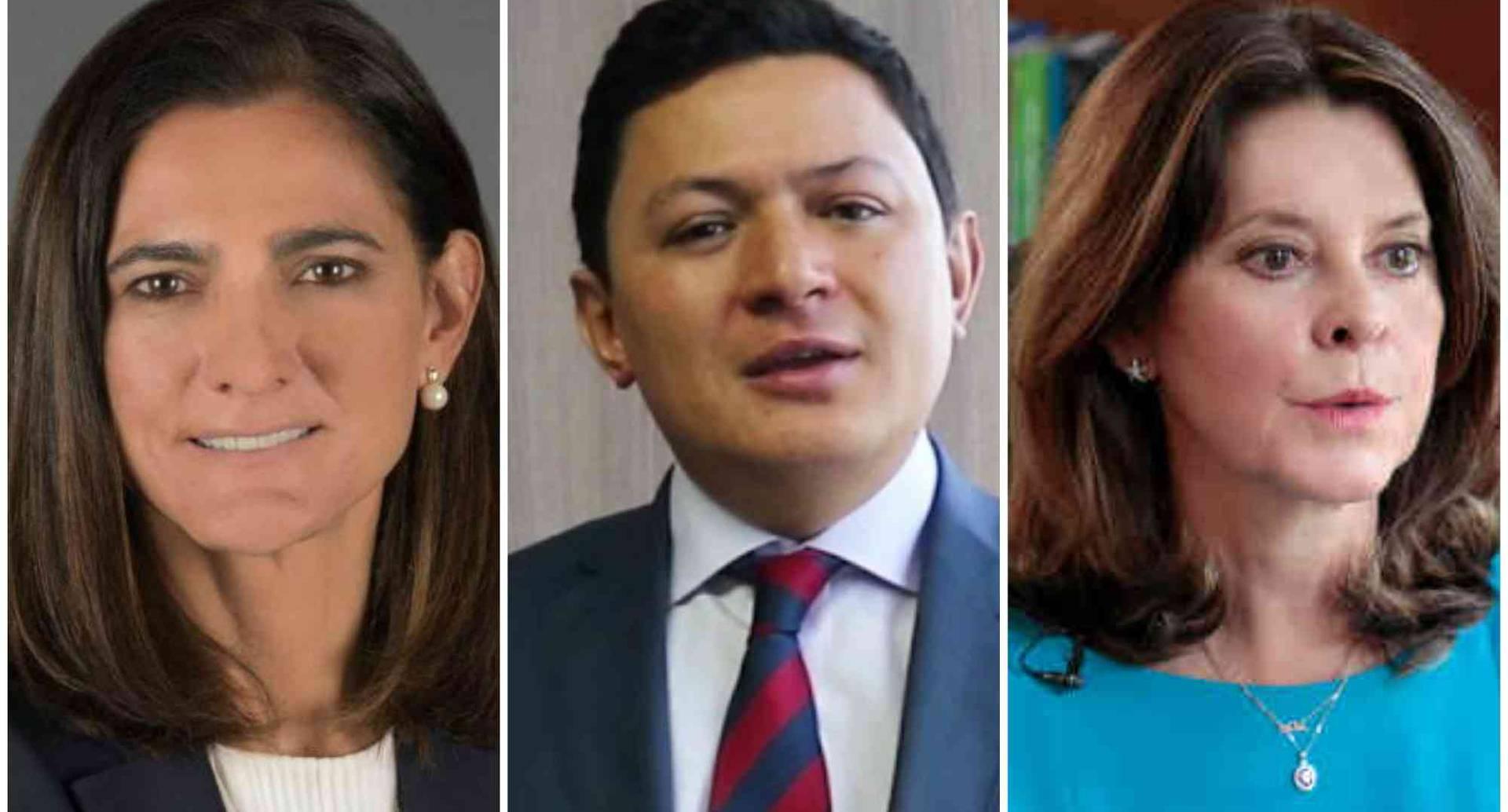 La ministra de Transporte, Ángela María Orozco; el nuevo consejero vicepresidencial Juan Camilo Ostos, y la vicepresidenta, Martha Lucía Ramírez.