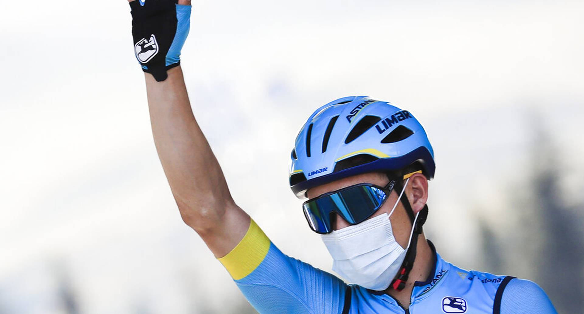 Colombia's Miguel Angel Lopez greets fans prior to the start of stage 18 of the Tour de France cycling race over 175 kilometers (108.7 miles) from Meribel to La Roche-sur-Foron, France, Thursday, Sept. 17, 2020. (Christophe Petit-Tesson/Pool via AP)