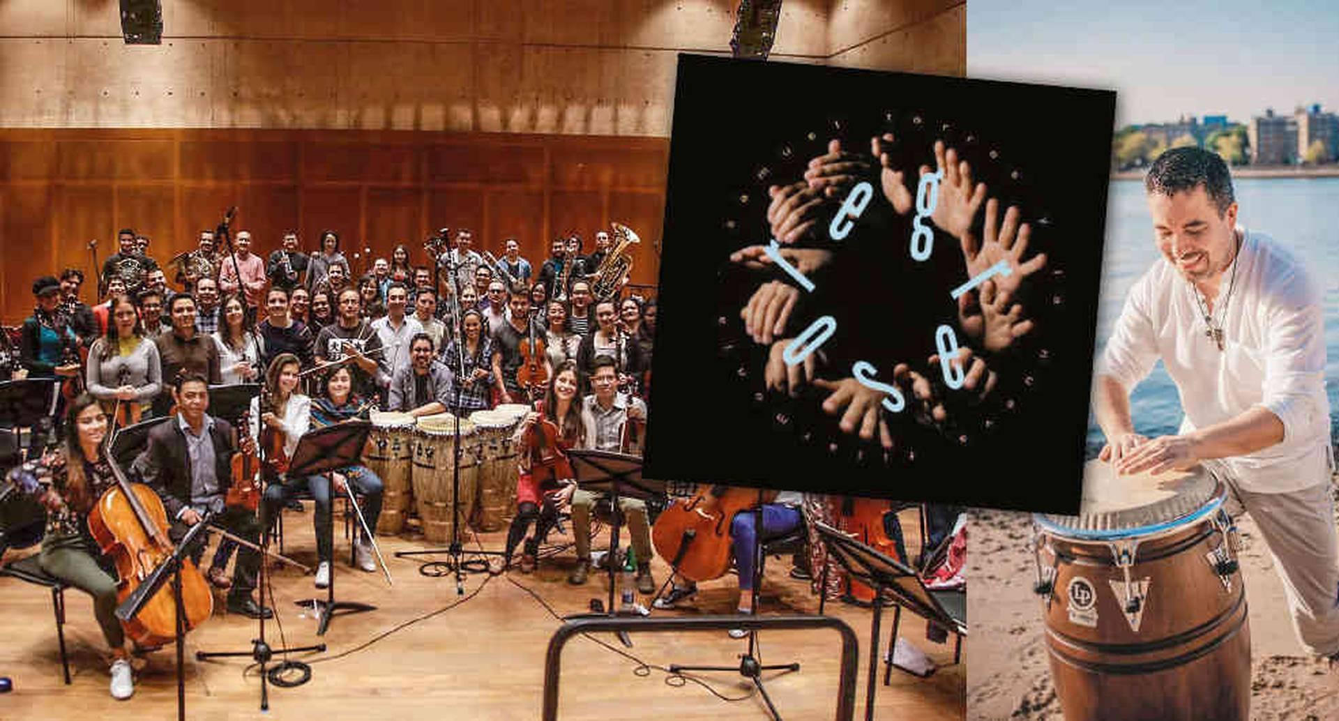 La orquesta Nueva Filarmonía, dirigida por Ricardo Jaramillo, respalda a Samuel Torres en sus composiciones para congas y orquesta filarmónica. El resultado es más que original.