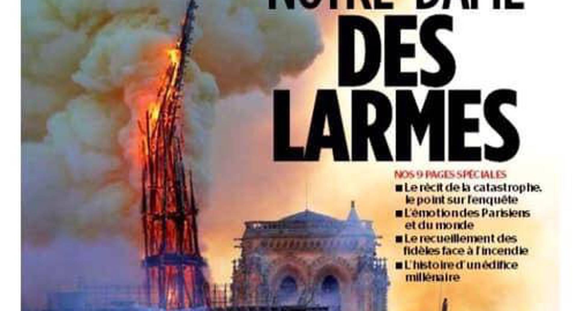 """""""Nuestra señora de las lágrimas"""" titulo el diario francés Le Parisien."""