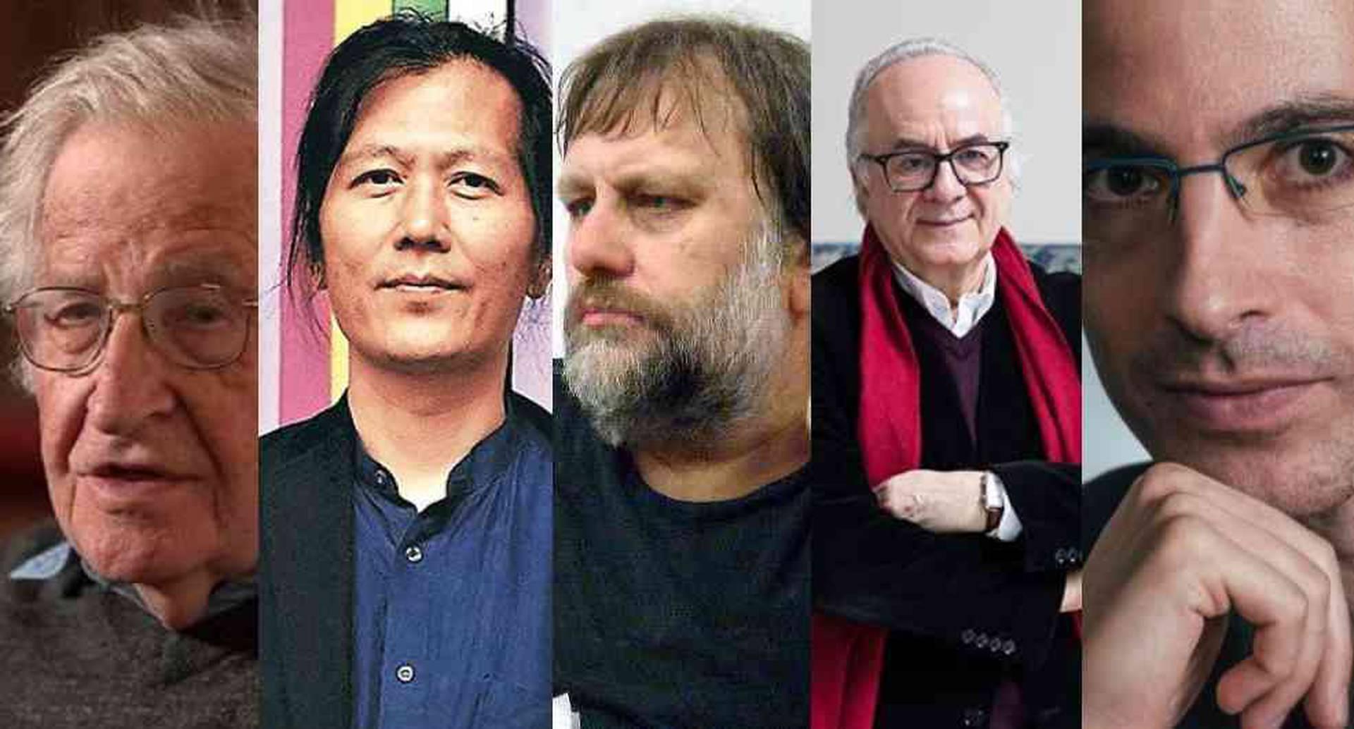 De izquierda a derecha: Noam Chomsky,  Byung-Chul Han (Foto lista Arcadia edición 2014 impresa), Slavoj Žižek (Foto Flickr.com), Boaventura de Sousa Santos (Foto de la Feria del Libro) y Yuval Noah Harari (Archivo personal)