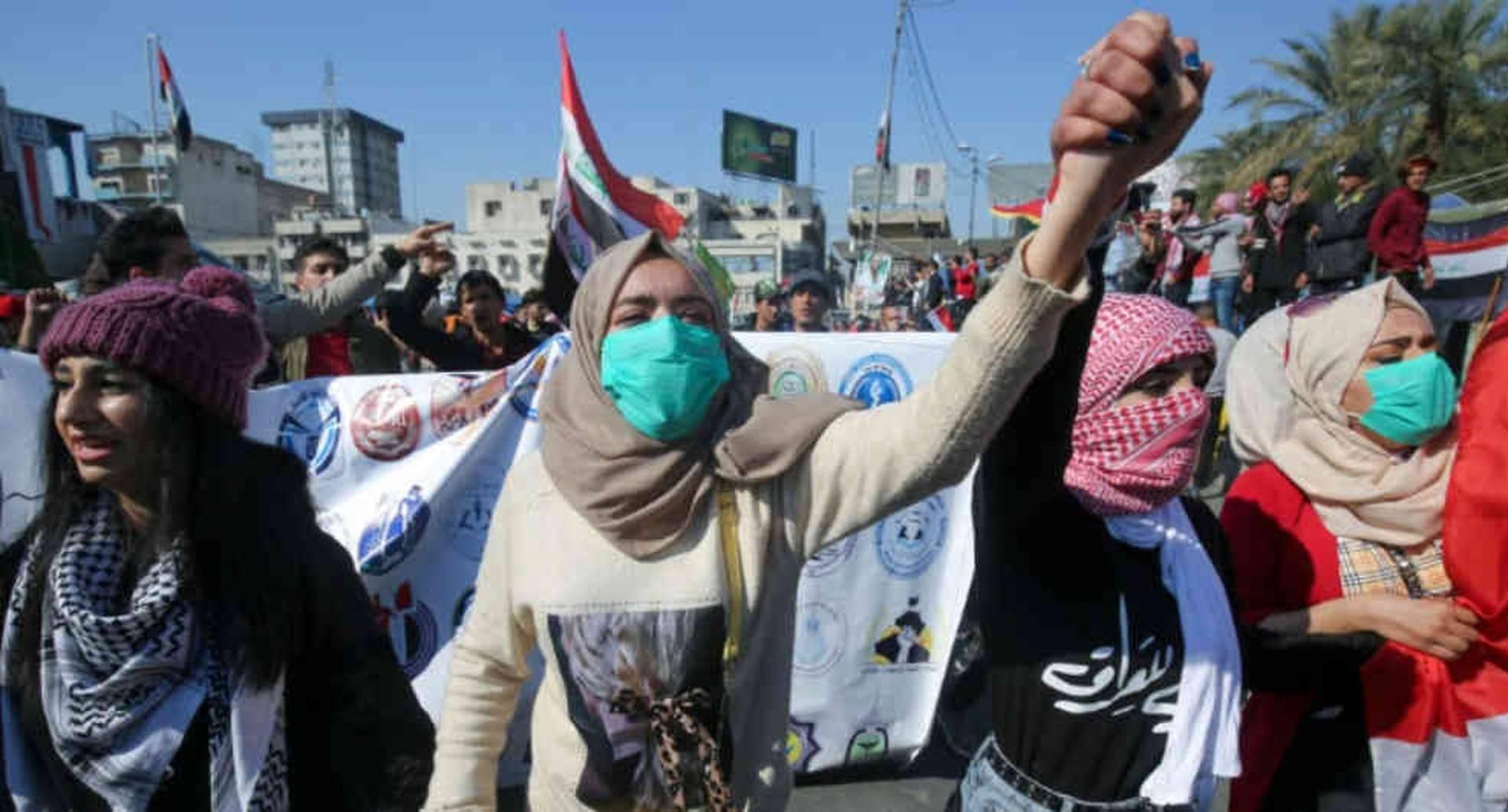 Manifestantes en Bagdad durante una de las protestas en febrero pasado.