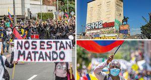 Jornadas de protesta y enfrentamientos de manifestantes con el Esmad en Bogotá, durante el primer mes del paro nacional.