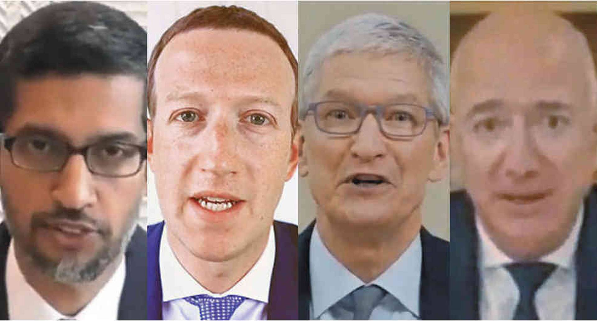 De izquierda a derecha: Sundar Pichai (Google), Mark Zuckerberg (Facebook), Tim Cook (Apple) y Jeff Bezos (Amazon)