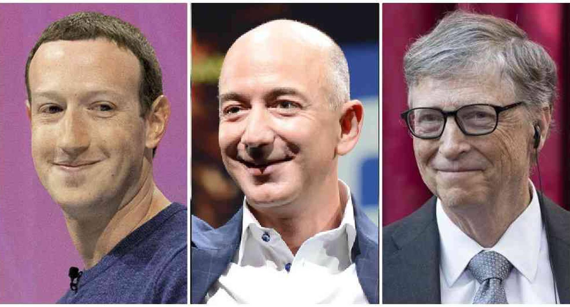 Mark Zuckerberg, Jeff Bezos y Bill Gates: los tres hombres más ricos del mundo