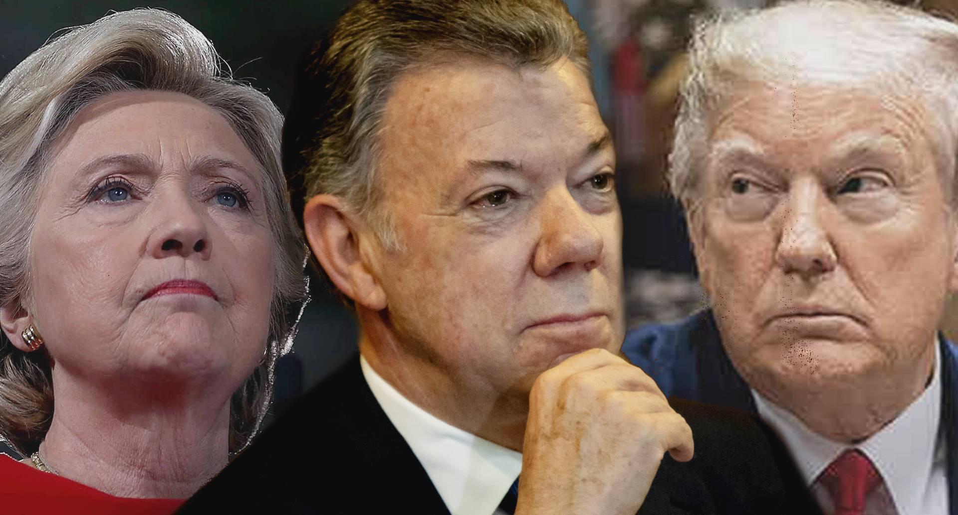 Hillary Clinton, Juan Manuel Santos, Donald Trump