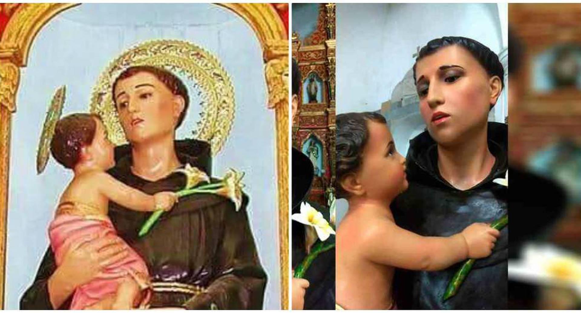 San Antonio de Padua antes y después. Archivo particular