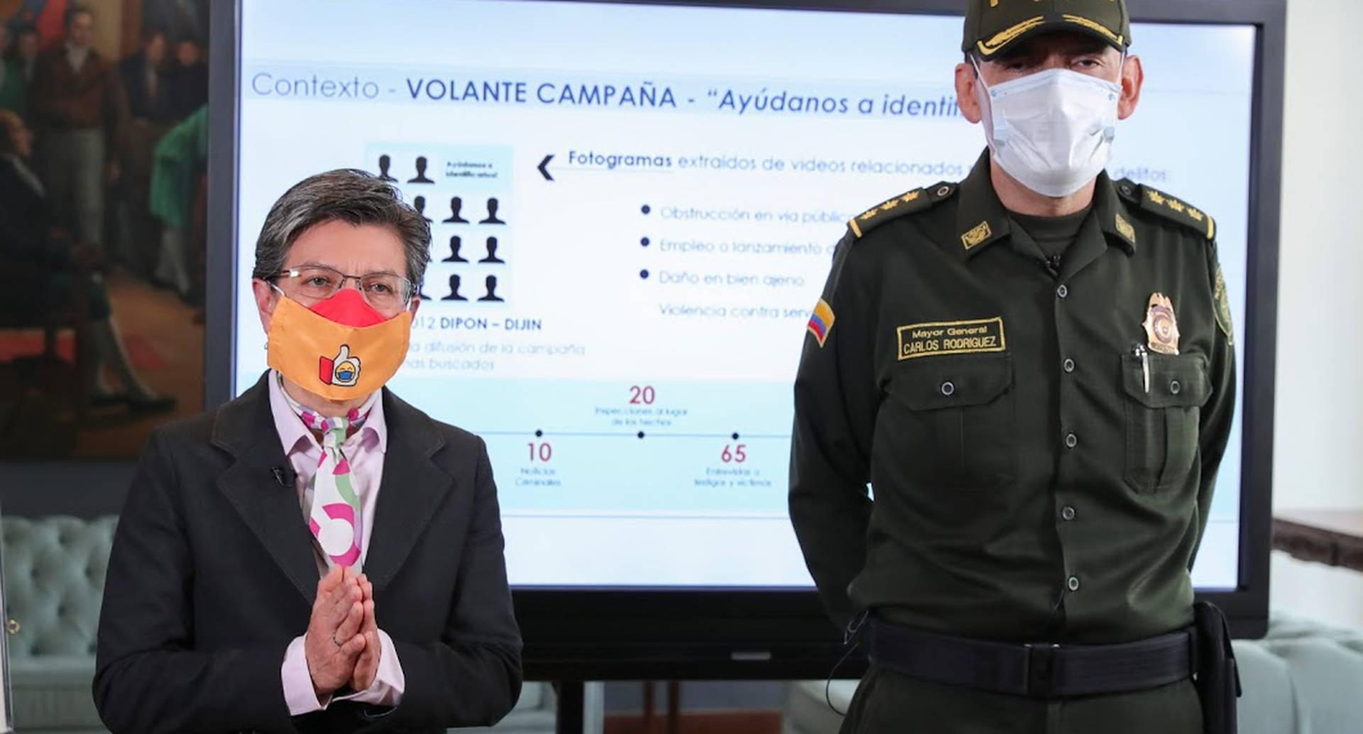 Declaraciones conjuntas de la alcaldesa Claudia López y el comandante encargado de la Policía Metropolitana de Bogotá