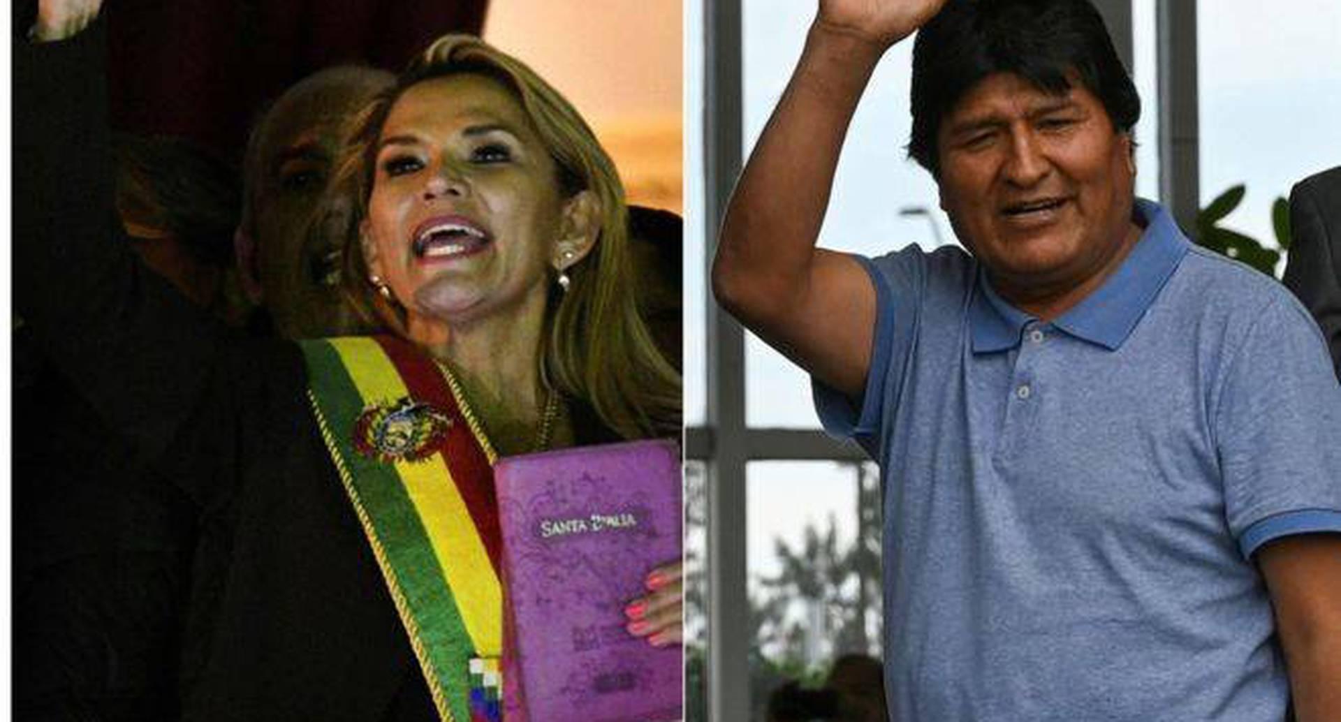 """""""La Biblia vuelve a palacio"""", declaró la presidenta interina de Bolivia, Jeanine Áñez. Foto: AFP."""