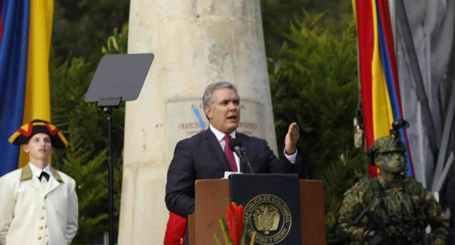 El presidente Iván Duque da su discurso por el bicentenario de la Batalla de Boyacá.