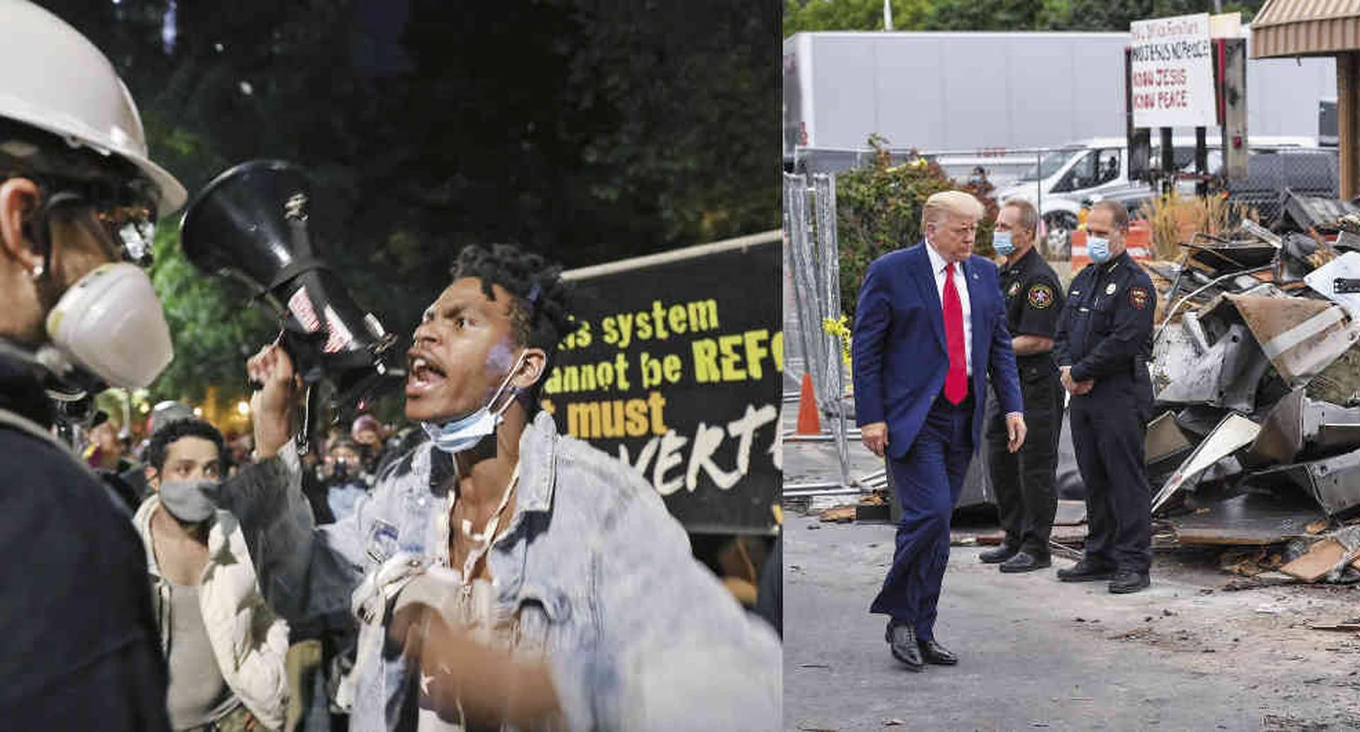 """Desde mayo, cientos de protestas denuncian un problema latente por décadas. En Kenosha, Trump no se reunió con la familia de Jacob Blake, el afroamericano abaleado por un policía frente a sus hijos. Prefirió señalar a los manifestantes, a quienes calificó de """"terroristas domésticos""""."""