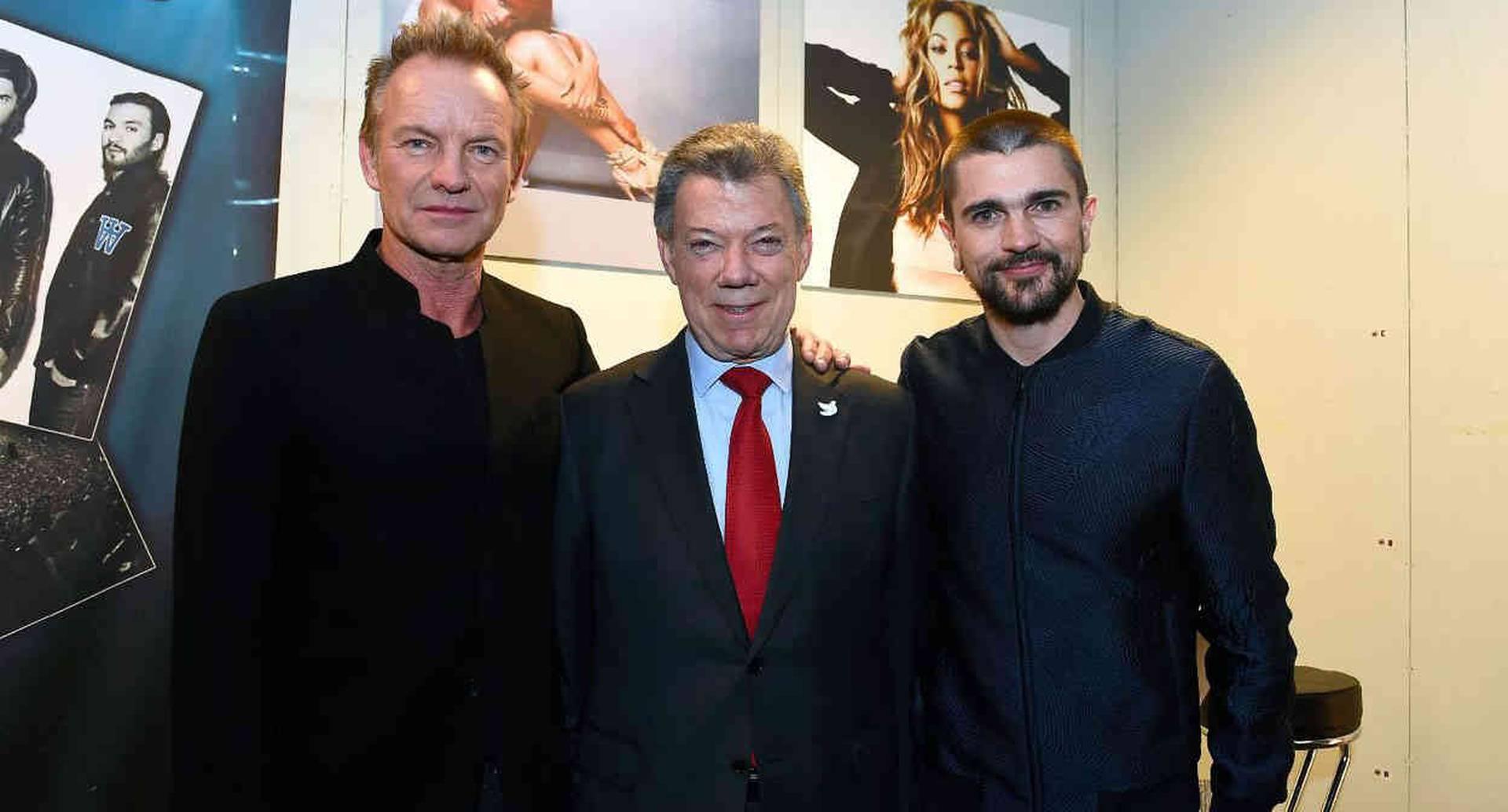 Sting, Juan Manuel Santos, Juanes. Foto: Presidencia de la República.