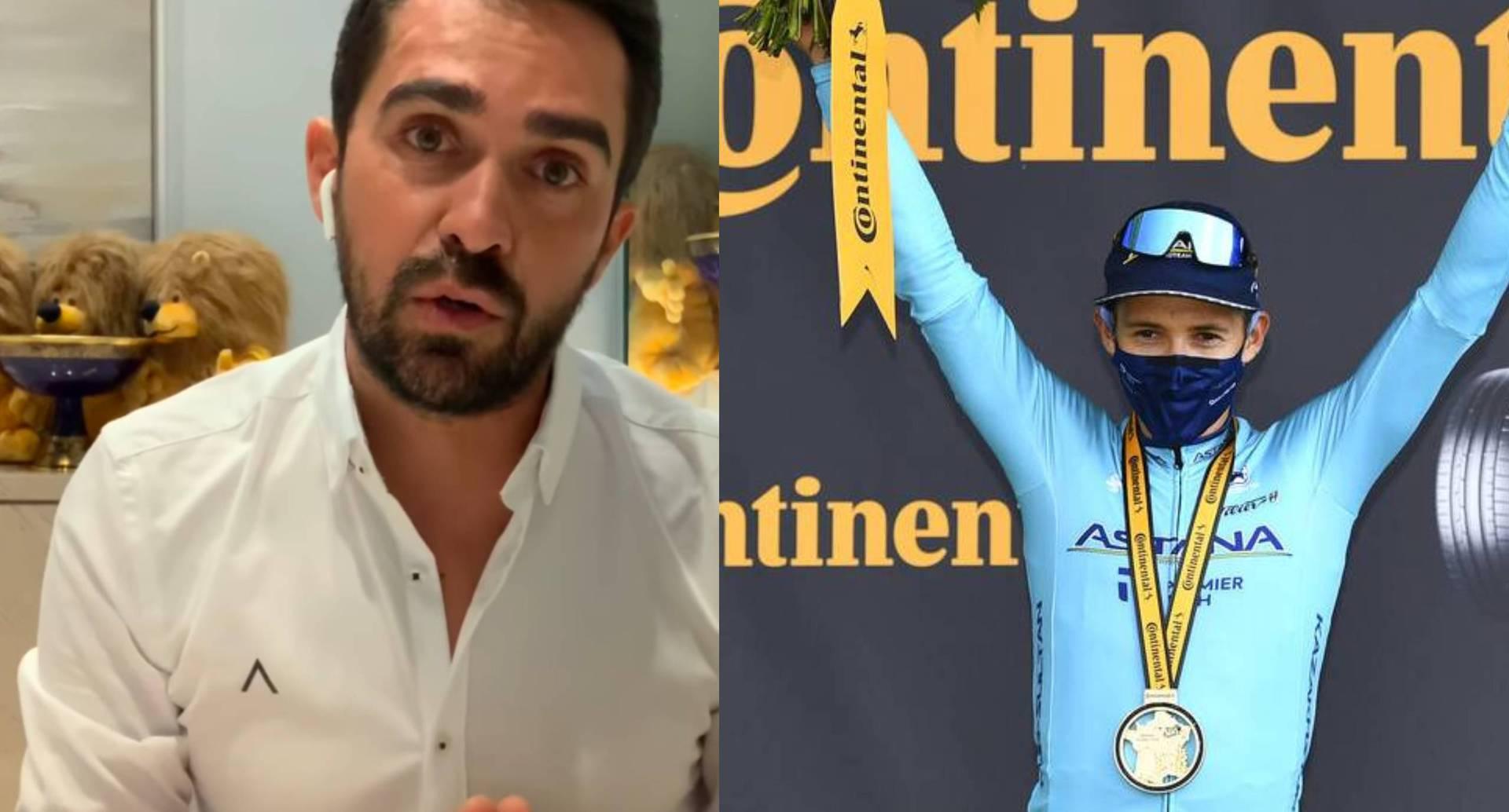 El exciclista Alberto Contador y Supermán López.