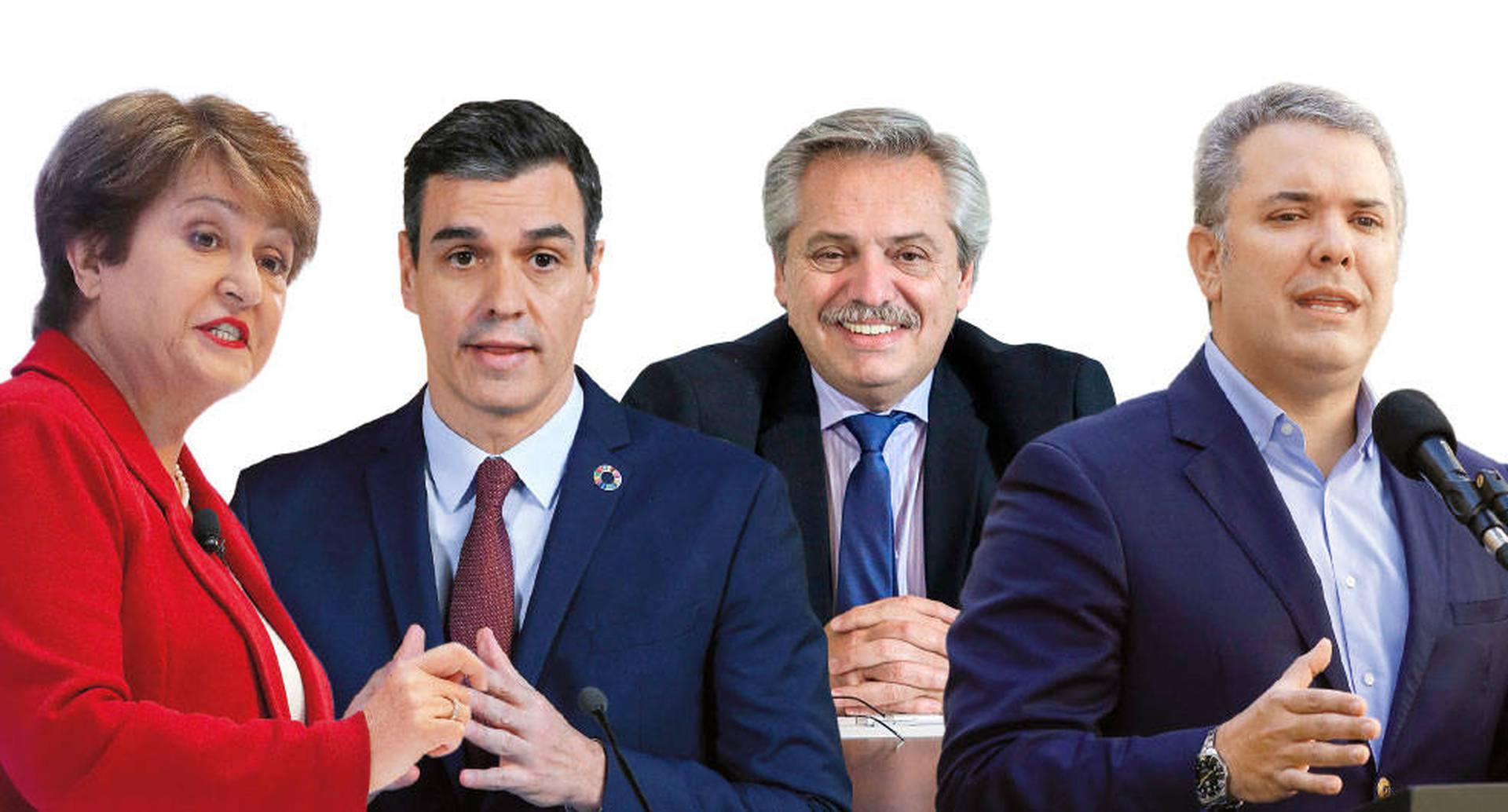 La presidenta del FMI, Kristalina Georgieva, y el presidente del Gobierno Español, Pedro Sánchez, escucharon las preocupaciones de diez mandatarios de la región, entre ellos, Alberto Fernández, de Argentina, e Iván Duque, de Colombia.