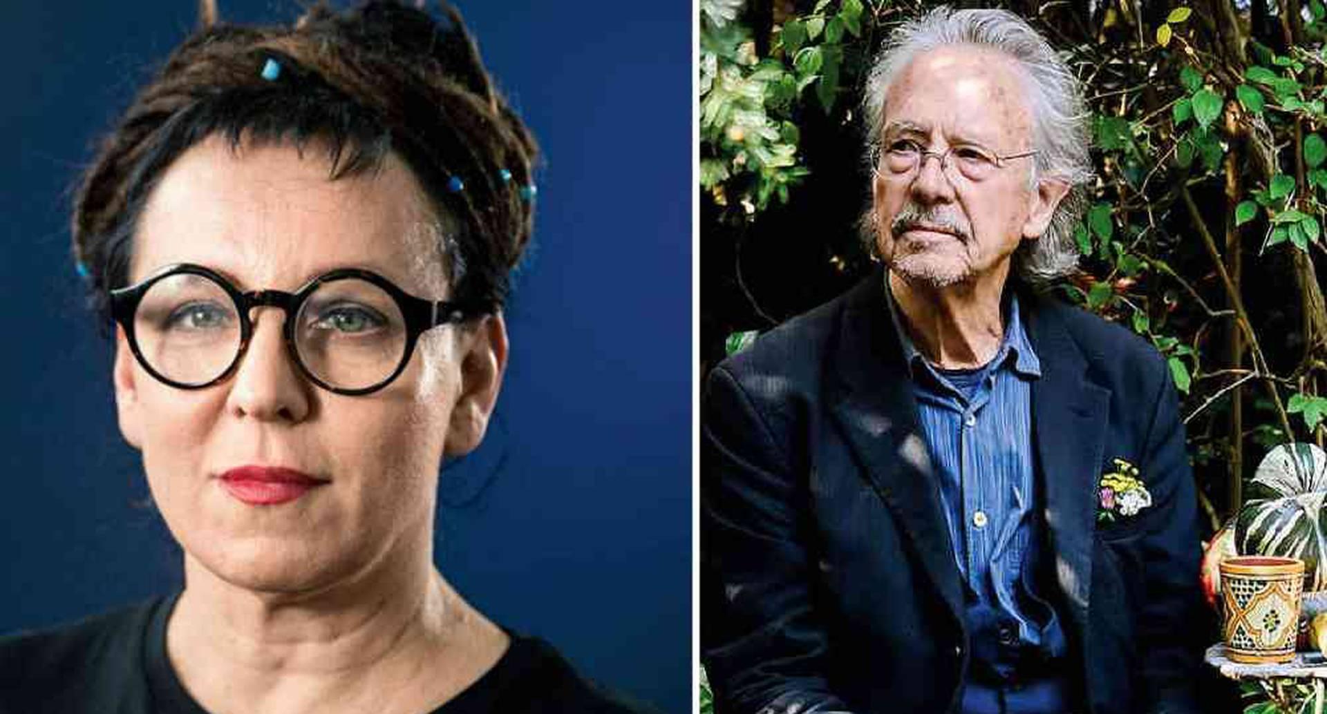 Olga Tokarczuk, premio nobel de literatura 2018 y ?Peter Handke, premio nobel de literatura 2019.