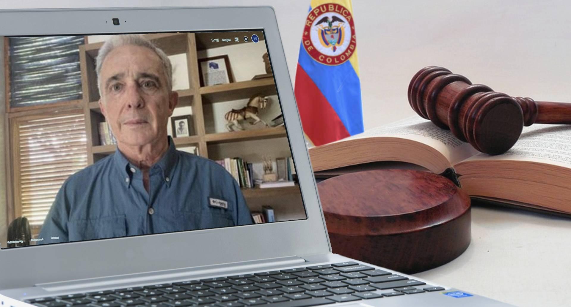 Álvaro Uribe audiencia virtual / Fotomontaje SEMANA
