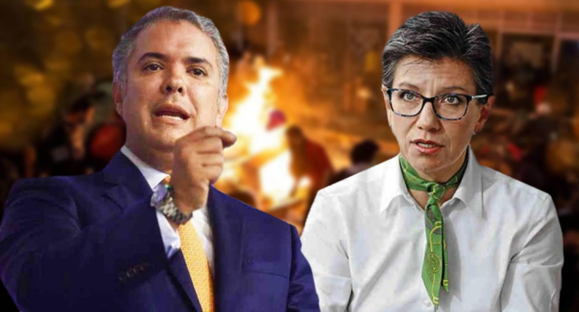 Nuevo choque entre presidente Iván Duque y alcaldesa Claudia López por violencia en Bogotá