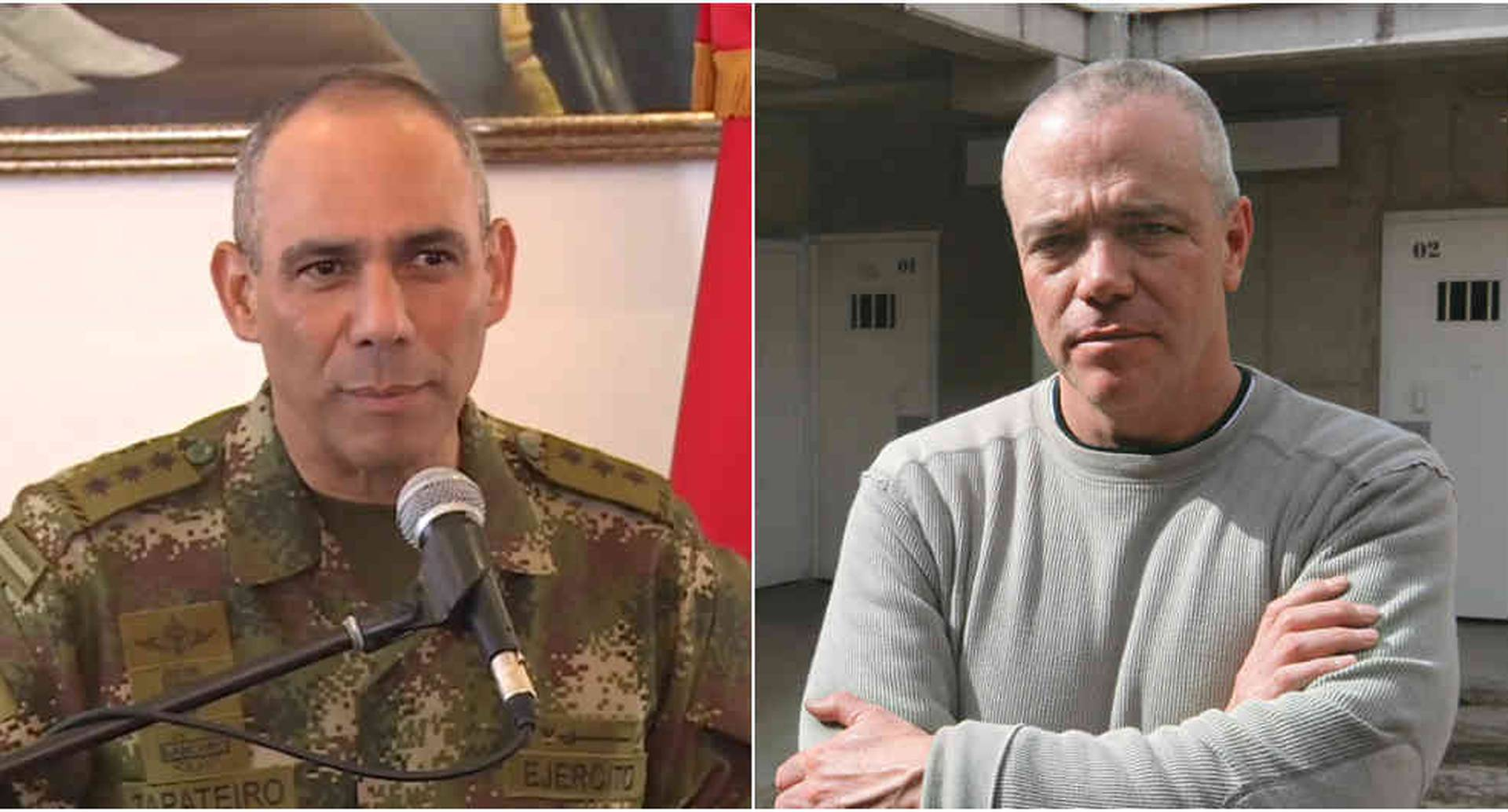 El general Eduardo Zapateiro, comandante del Ejército. A la derecha el sicario fallecido Jhon Jairo Velásquez, alias Popeye