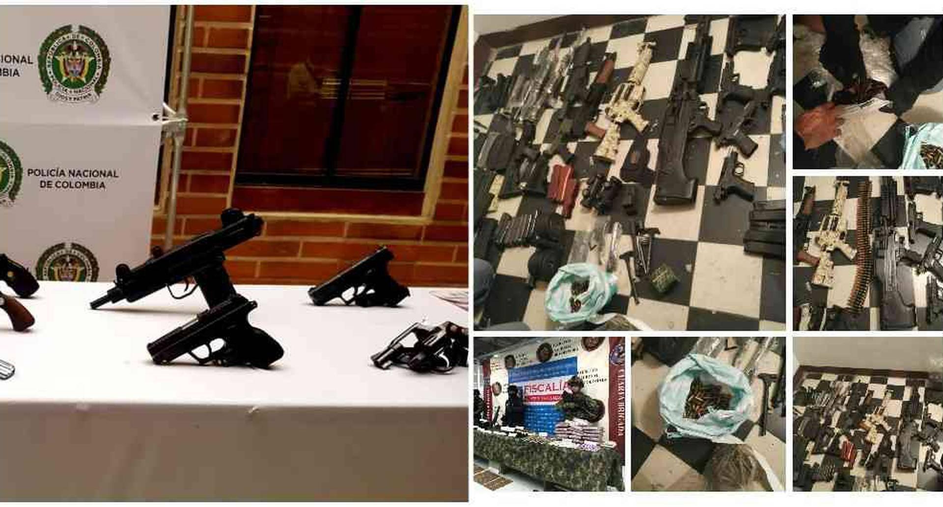 En un solo operativo realizado el martes 16 de abril en Bello, la Fiscalía incautó diez armas entre pistolas, revólveres y uzis, además de cartuchos y silenciadores.