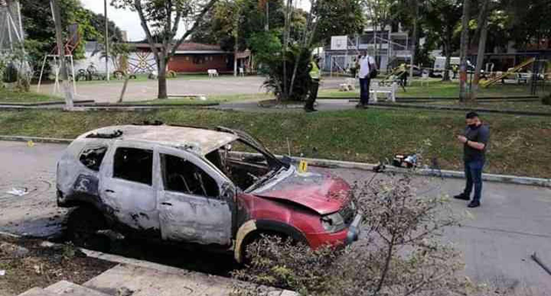 Así quedó el carro del gobernador indígena. Foto: cortesía
