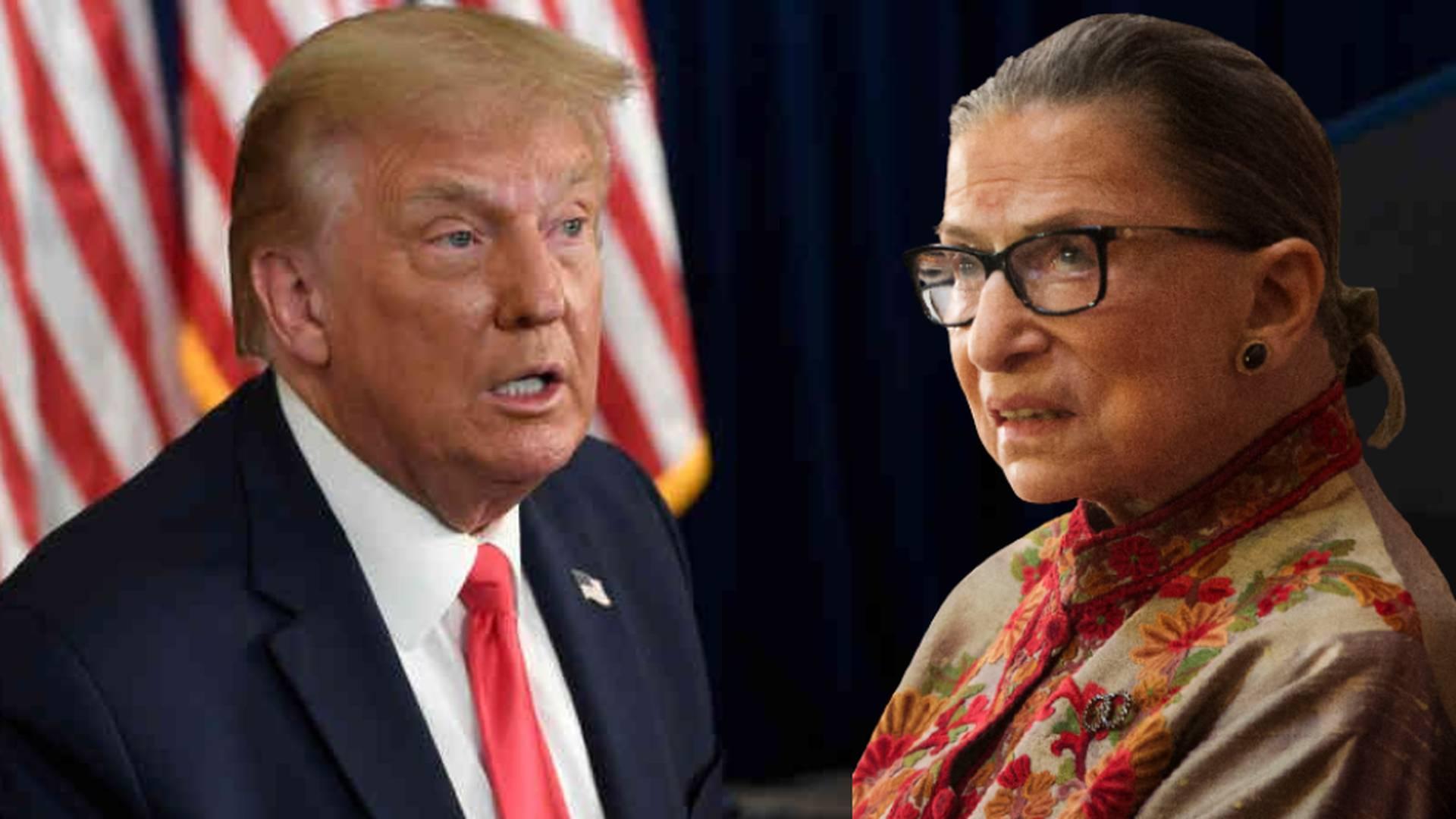 Donald Trump, presidente de los Estados Unidos, y Ruth Bader Ginsburg, jueza de la Corte Suprema