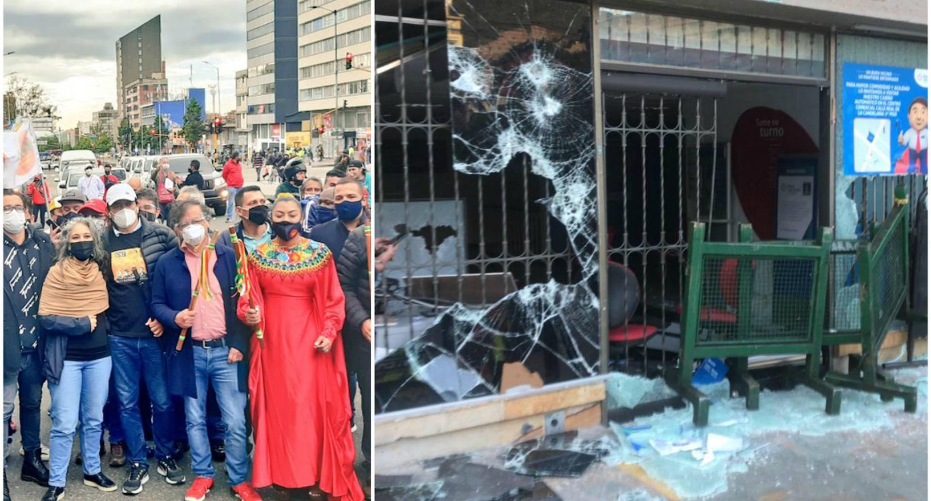 El senador Gustavo Petro (Izq.) participaba en las movilizaciones de este 21 de septiembre en Bogotá, pero se retiró por los disturbios registrados entre el Esmad y manifestantes (Der.)
