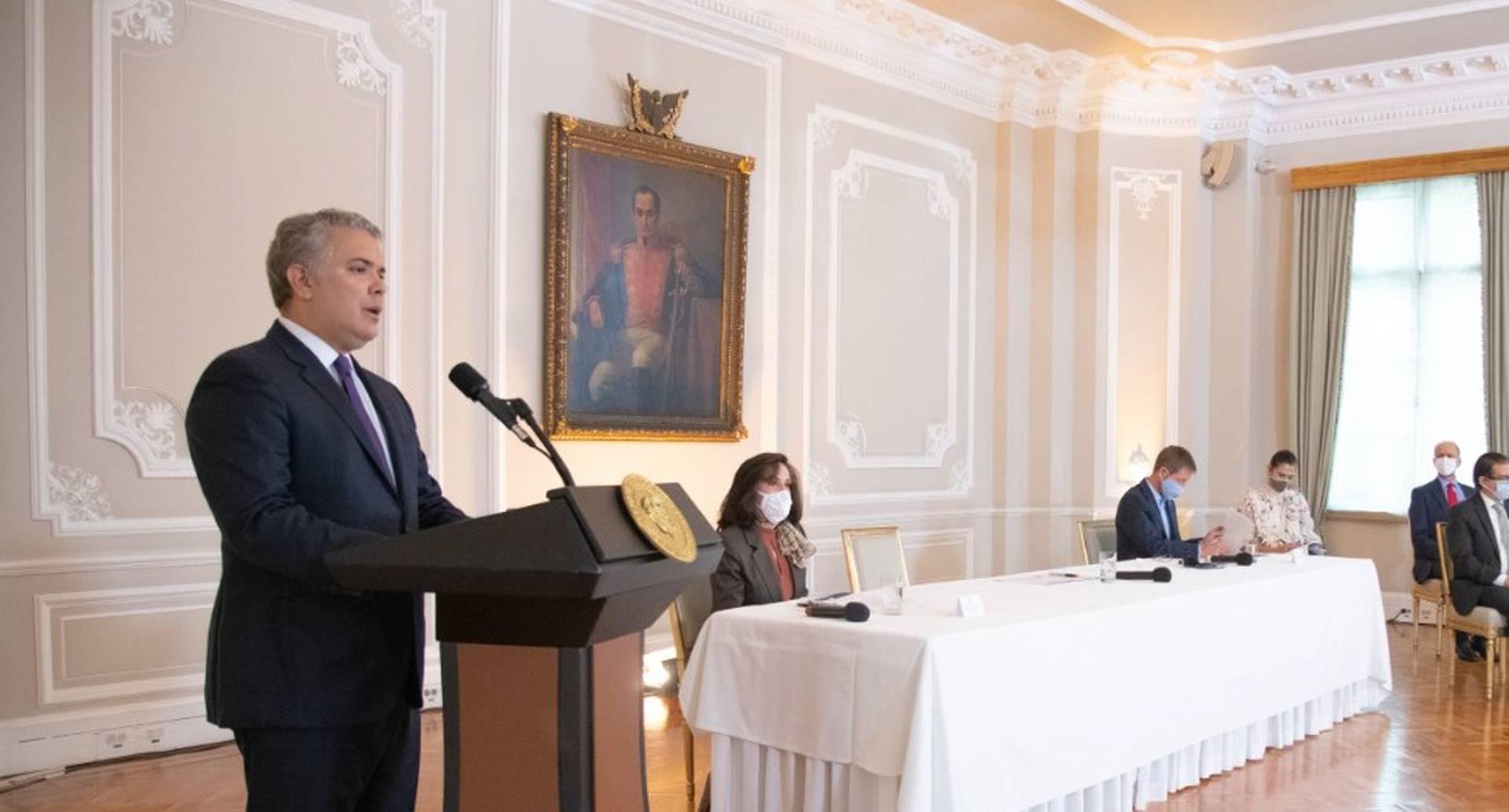 Iván Duque en el evento en el que expuso los logros de su política de Paz con Legalidad en la Casa de Nariño.