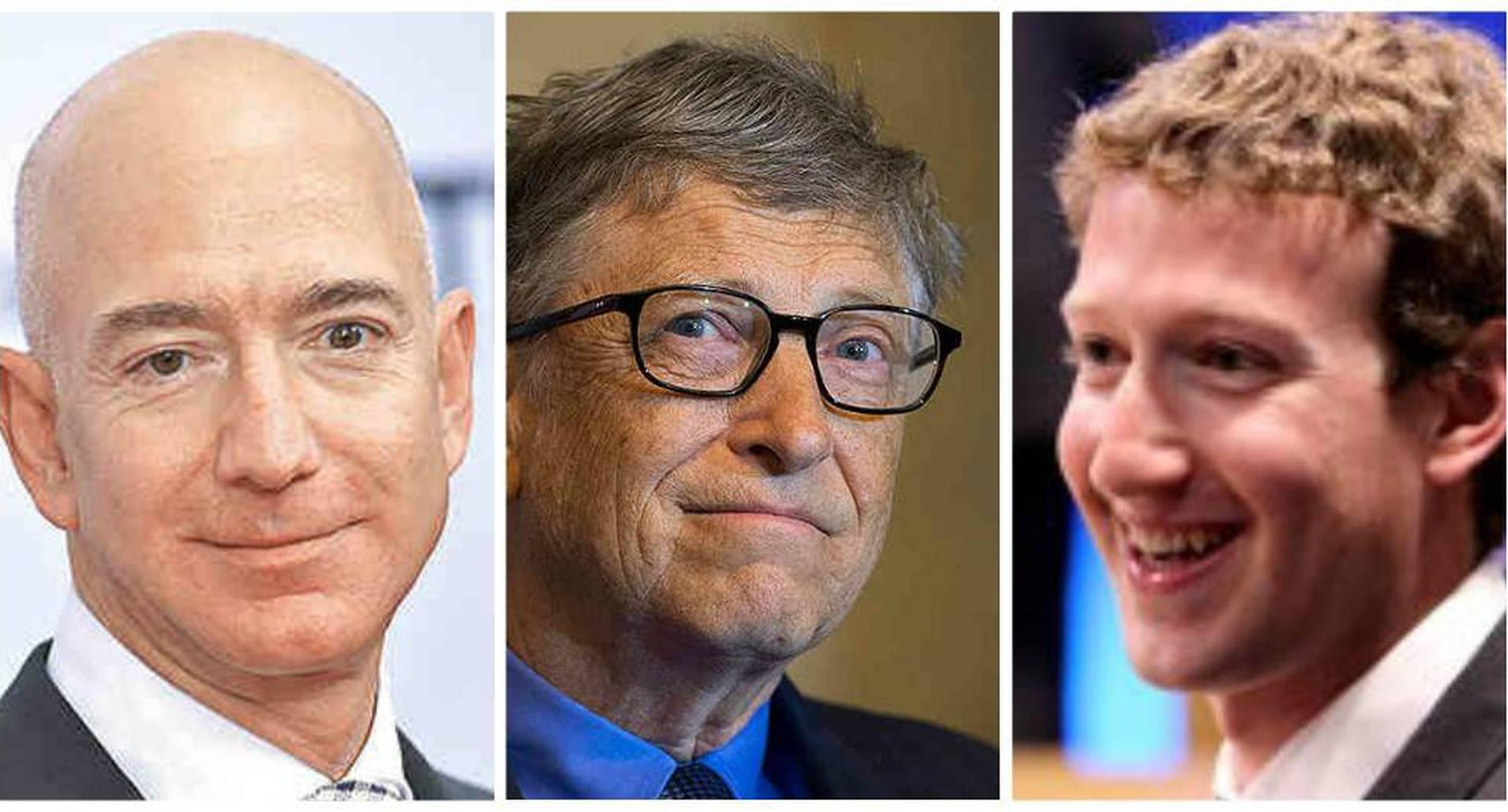 Jeff Bezos, Bill Gates y Mark Zuckerberg.