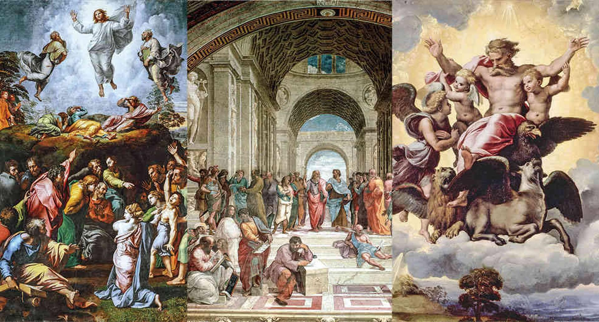 La transfiguración, La escuela de Atenas y La visión de Ezequiel son muestras inconfundibles del trabajo de un maestro que vivió poco y dejó mucho.