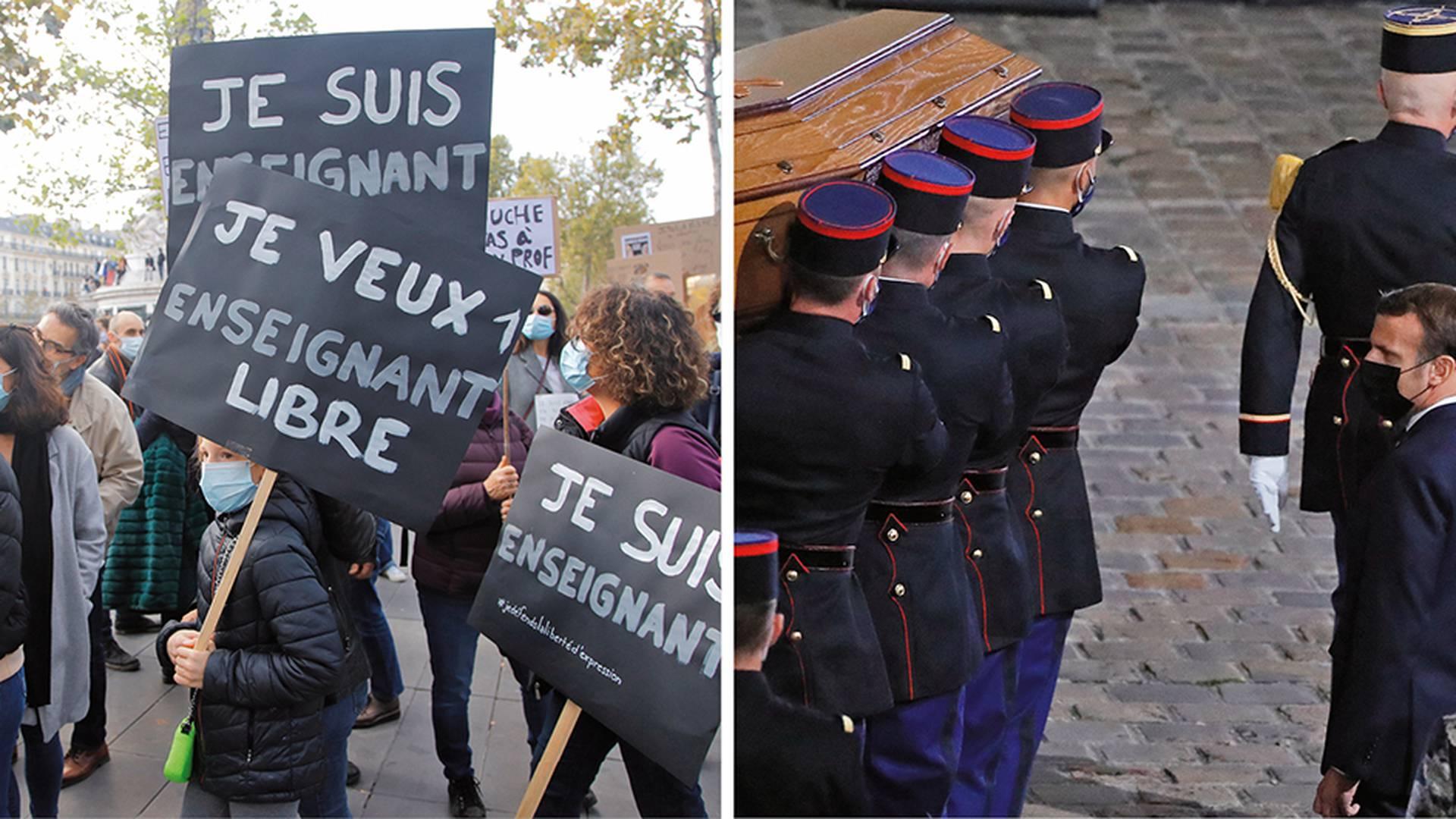Ante la conmoción, miles de personas conmemoraron esta semana el trabajo del profesor Samuel Paty. El presidente francés Emmanuel Macron y 400 personas rindieron un homenaje en la universidad La Sorbona.