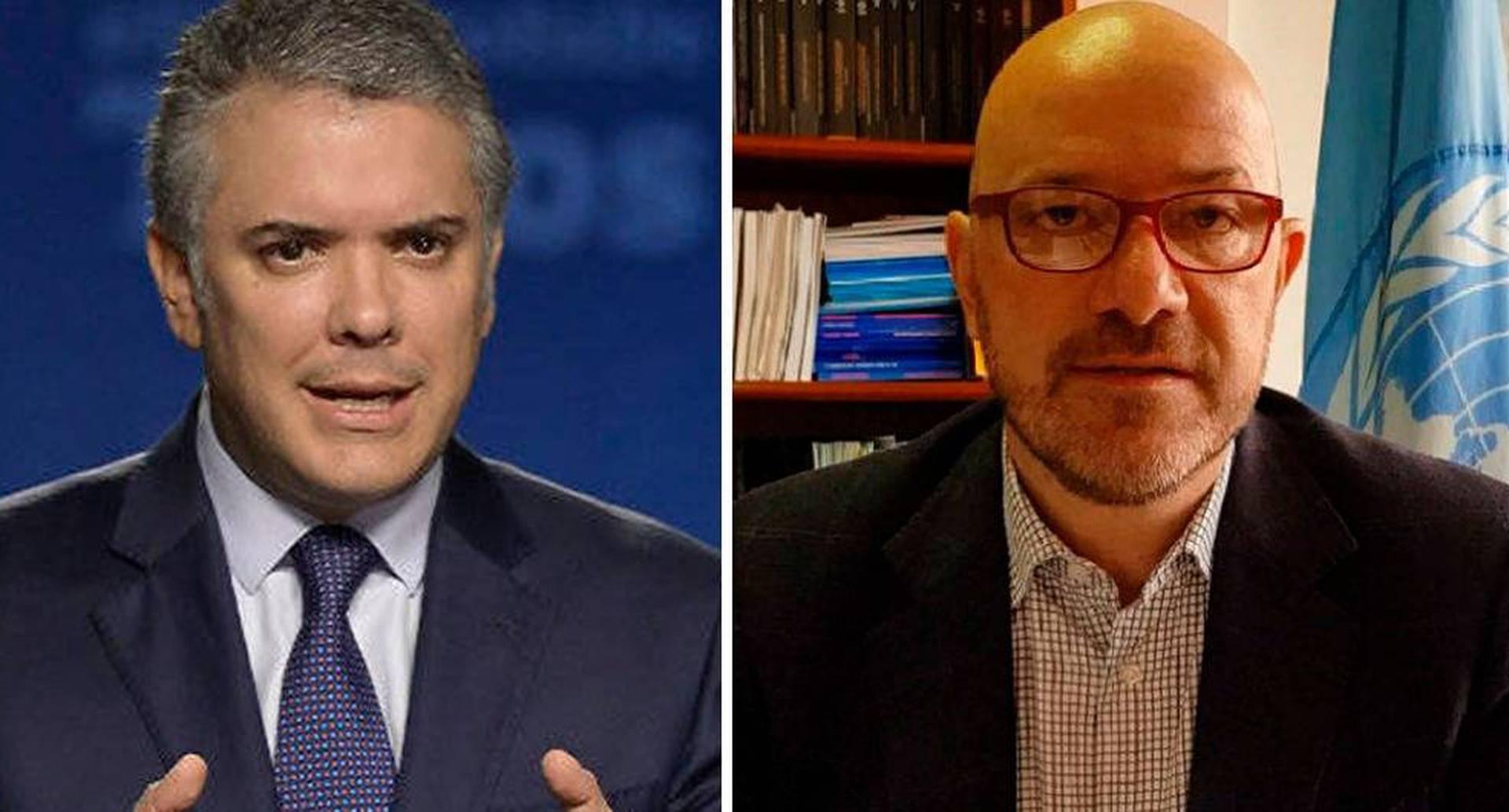El presidente Duque y Alberto Brunori, representante en Colombia de la Oficina de Derechos Humanos de la ONU.