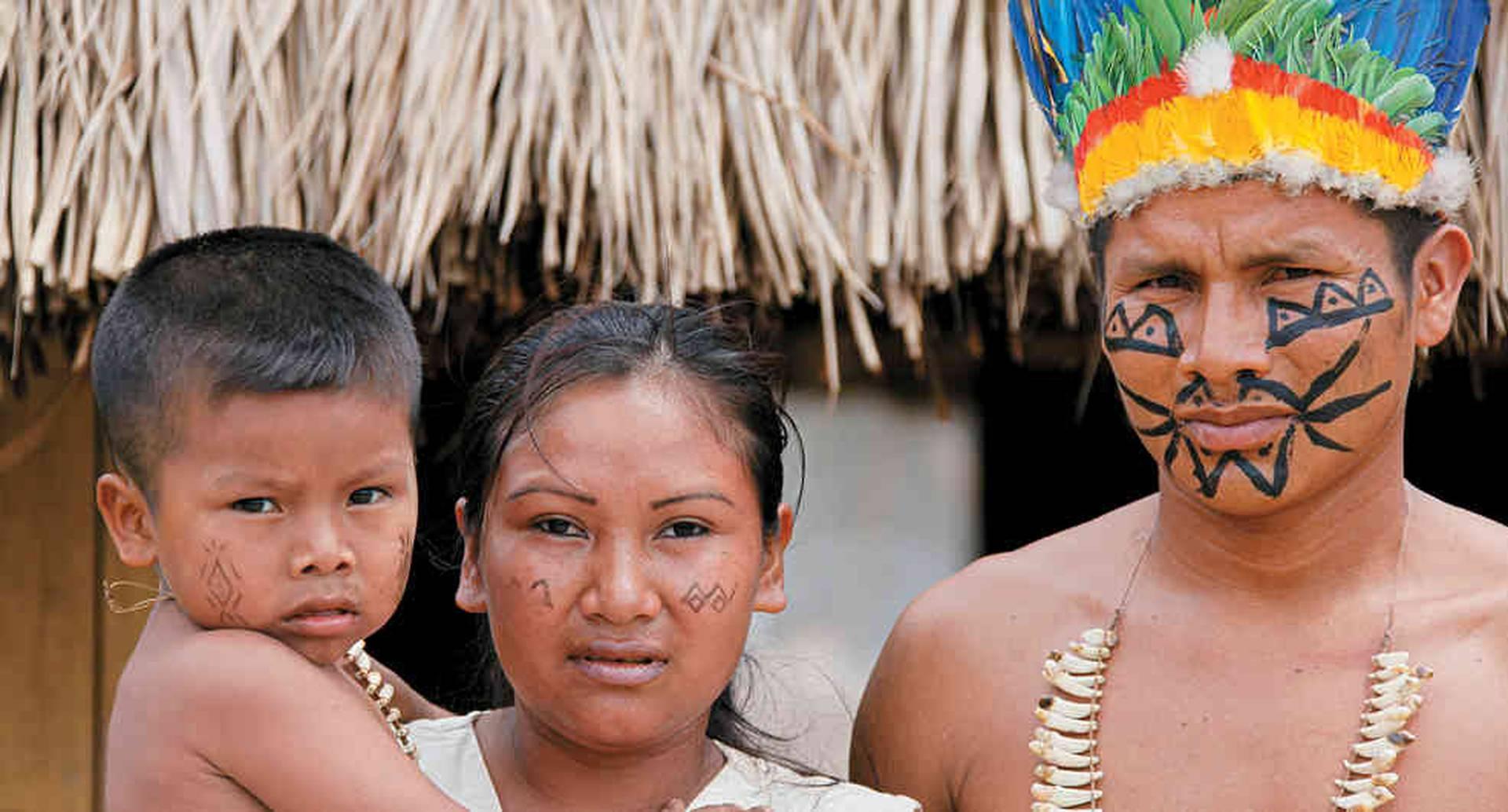 Los indígenas Sikuani elaboran piezas talladas en madera.