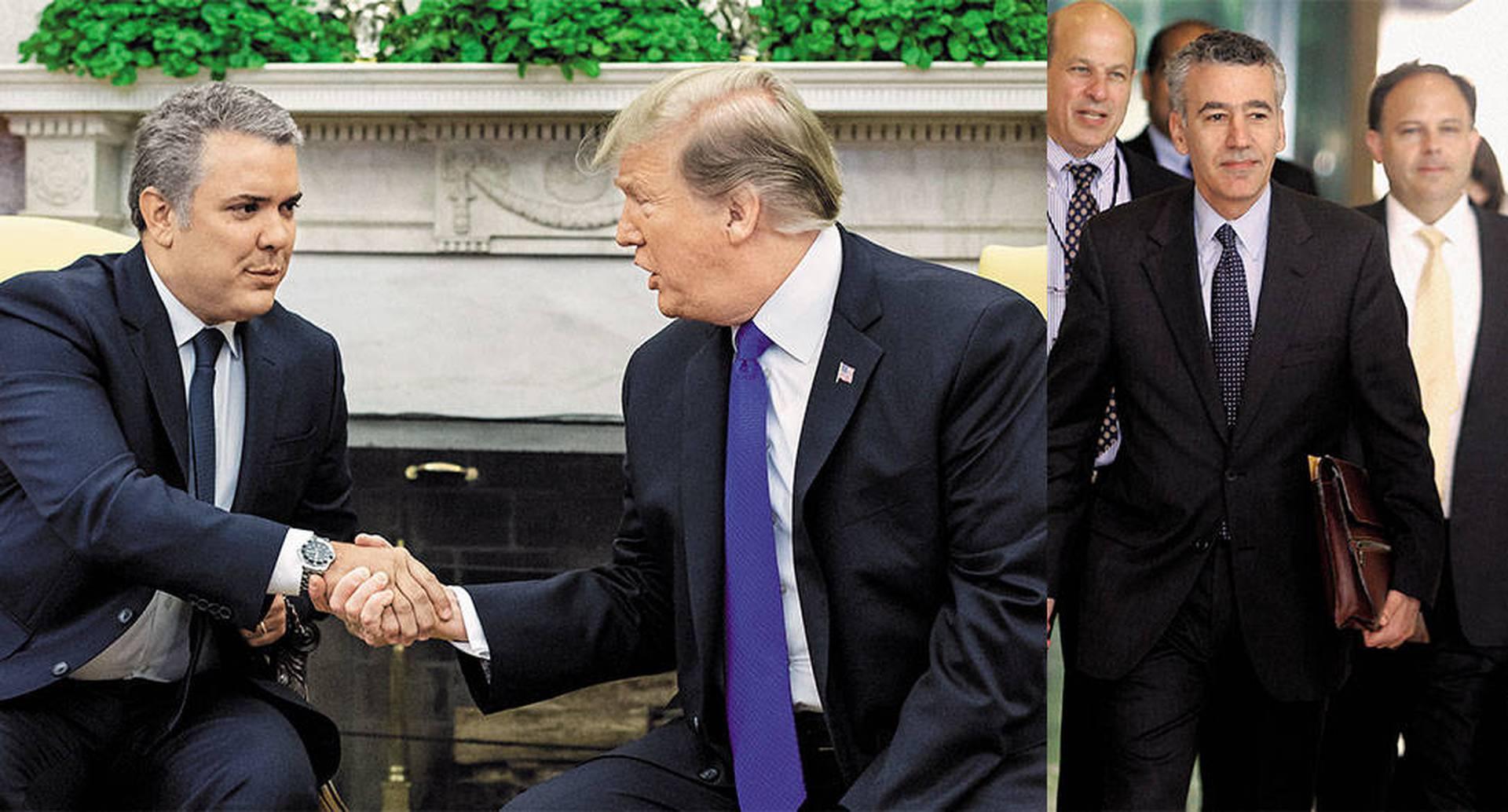 Duque y Trump, y el hecho de que hubieran coincidido en sus presidencias, marcan una ruptura total con los elementos que durante los últimos años habían articulado la relación de Colombia y Estados Unidos. A la derecha, el nuevo embajador de Estados Unidos en Colombia, Philip S. Goldberg, quien se acreditó a comienzos de septiembre.