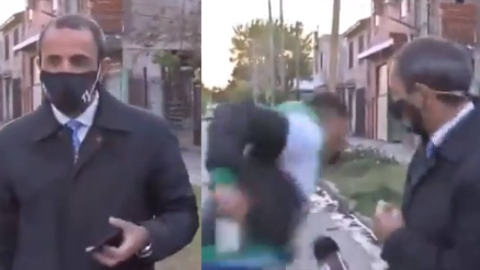 En video: el dramático robo de celular a periodista que esperaba salir al aire se vuelve viral