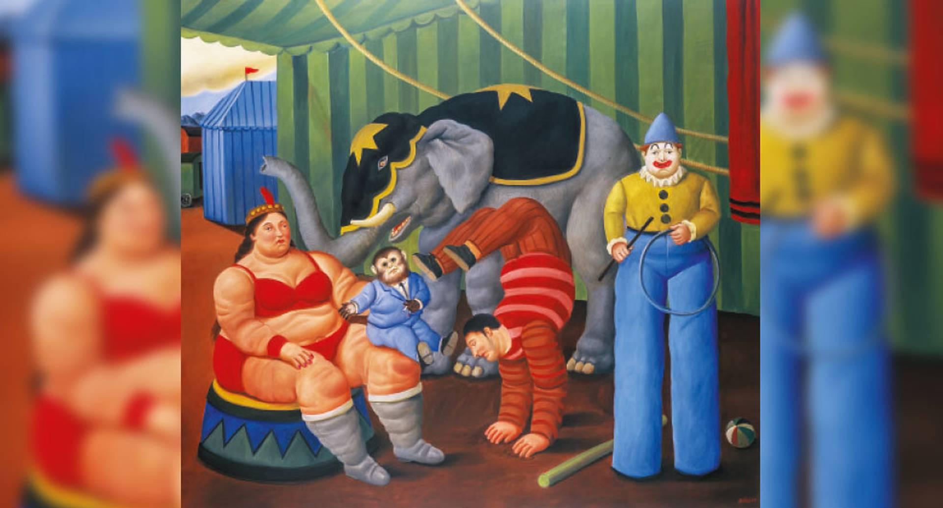 Fernando Botero, 'Gente del circo con elefante', 2007