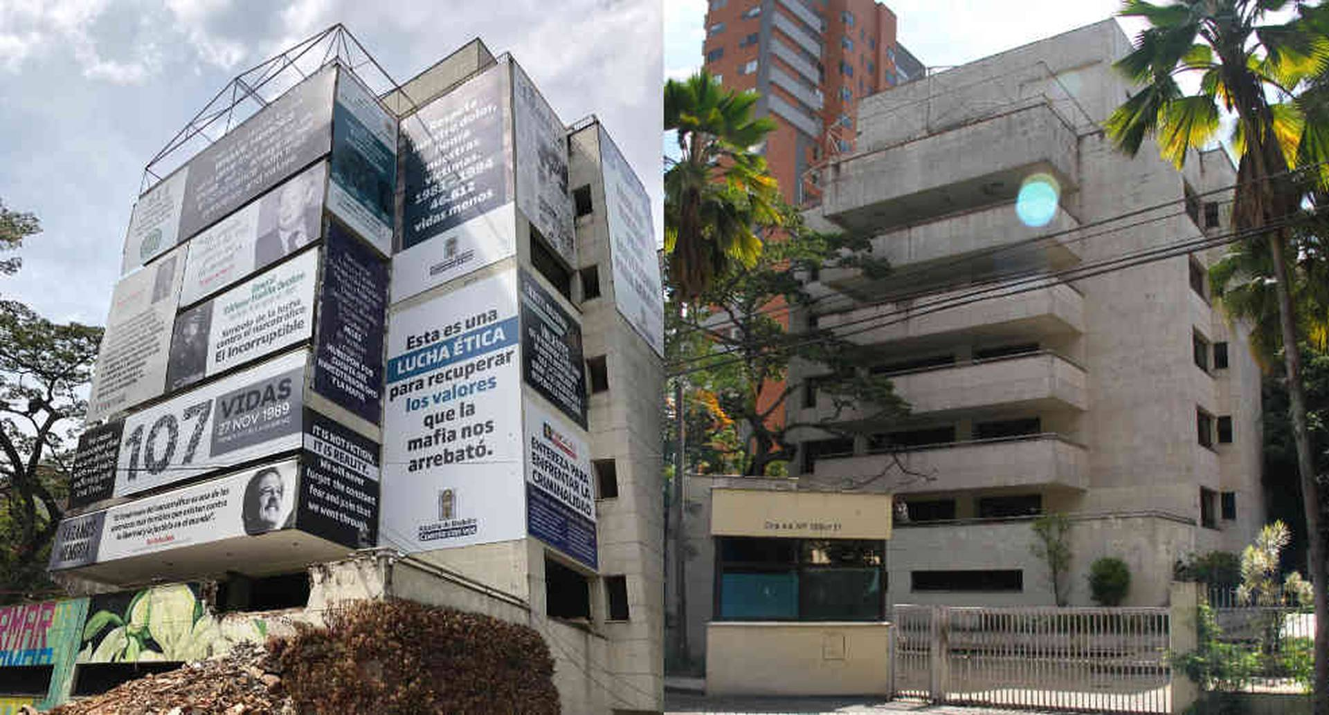 Izquierda: foto de como está el edificio en estos momentos. Derecha: la propiedad en septiembre de 2015.