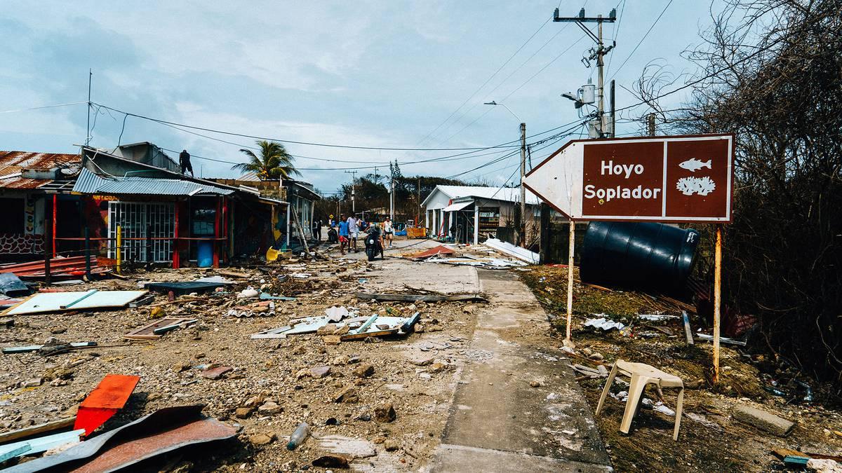 Devastación por el paso del huracán Iota en San Andrés.