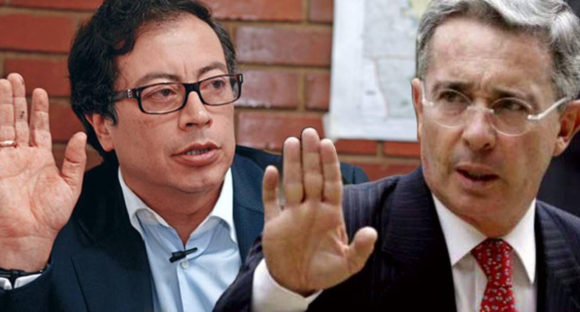 Gustavo Petro y Álvaro Uribe.