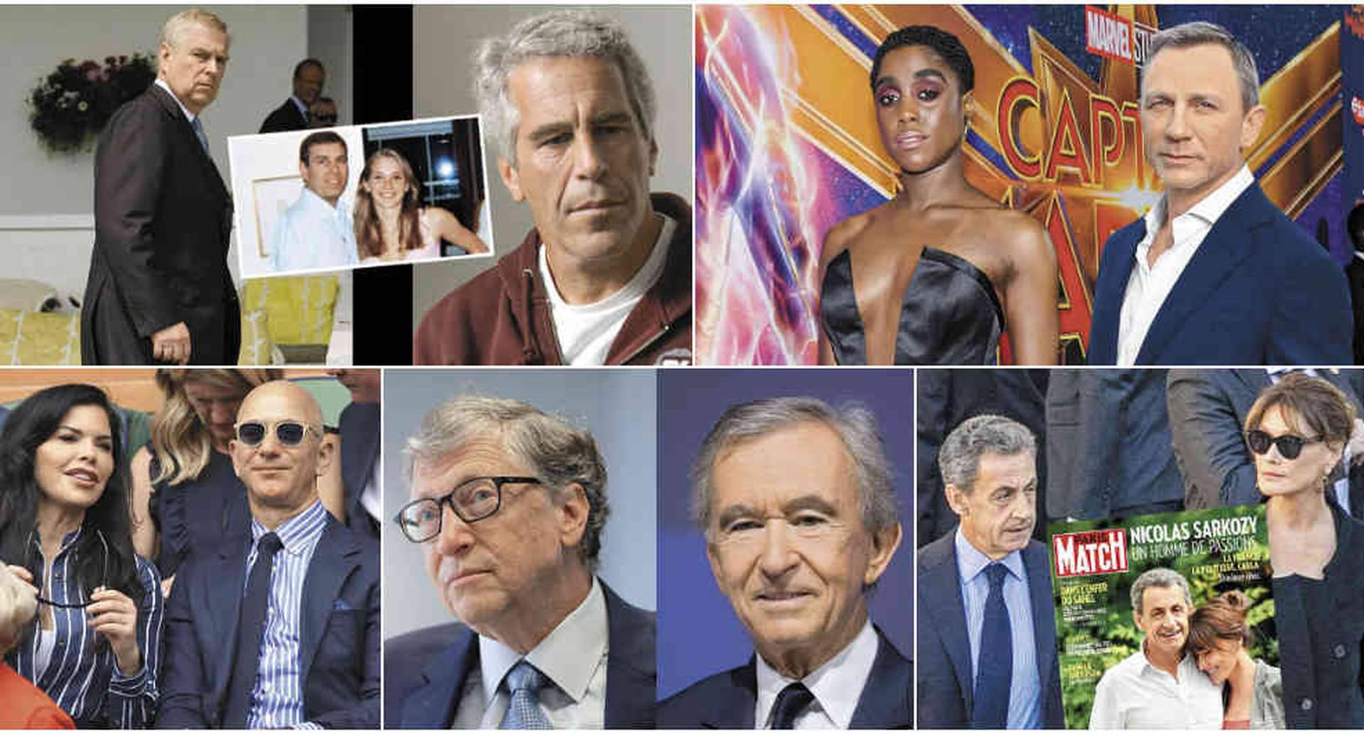El príncipe Andrés, Lysana Lynch,, Bernard Arnault, Nicolás Sarkozy, Jeff Bezos.