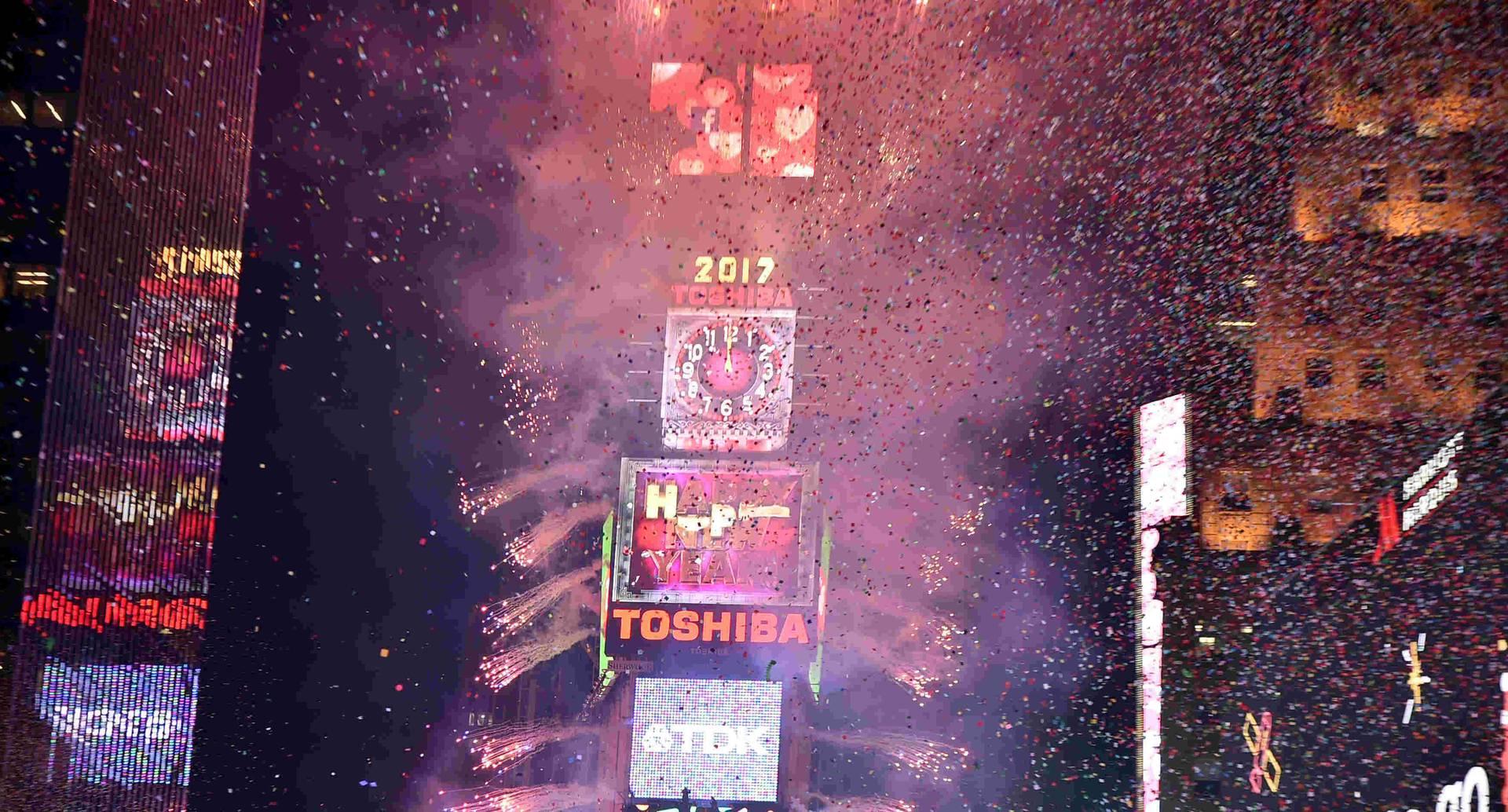 Así se recibió el año nuevo en el Times Square de Nueva York.