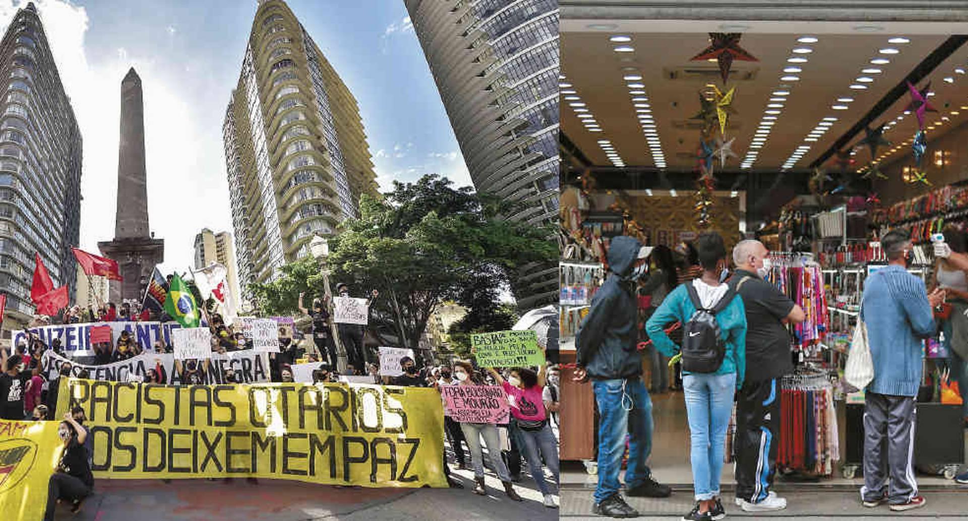 Miles salieron a las calles de São Paulo a protestar contra el racismo, la inoperancia durante la emergencia sanitaria y el ataque de Bolsonaro al sistema democrático. La ciudad, al igual que Río de Janeiro, abrió los centros comerciales a pesar de que la enfermedad no da tregua.