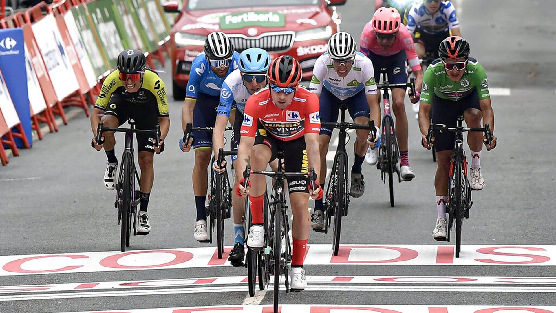 Jumbo-Visma's Primoz Roglic, crosses the line in second position at the end of the second stage of La Vuelta between Pamplona and Lekunberri, in Lekunberri, northern Spain, Wednesday, Oct. 21, 2020. (AP Photo/Alvaro Barrientos)