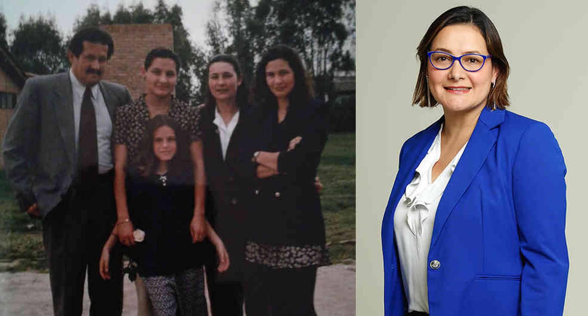 Jenny Garzón Caicedo (a la derecha) con Ángela, su hermana menor, su mamá y Angelino Garzón, su padre. Fue asesinada aparentemente por su pareja cuando tenía 27 años.