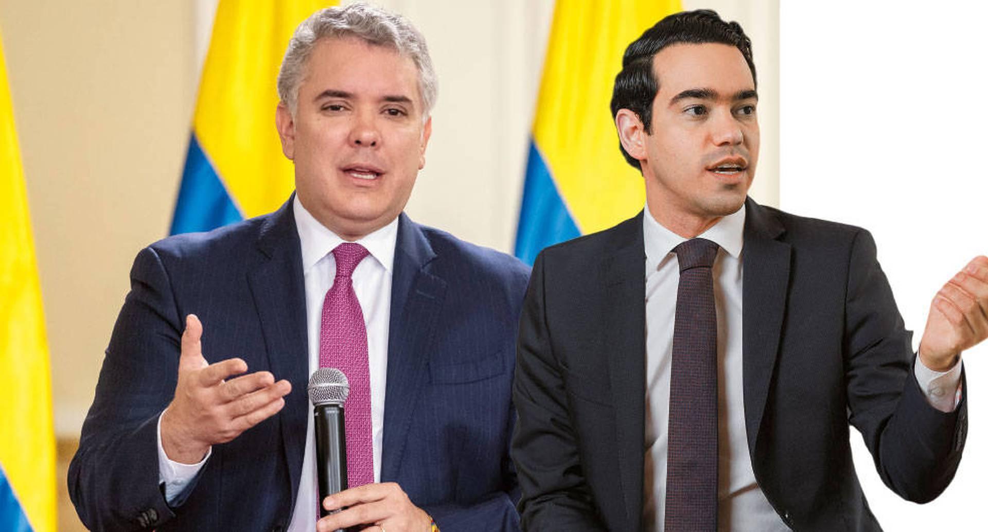 El presidente Iván Duque y el director del DNP, Luis Alberto Rodríguez.