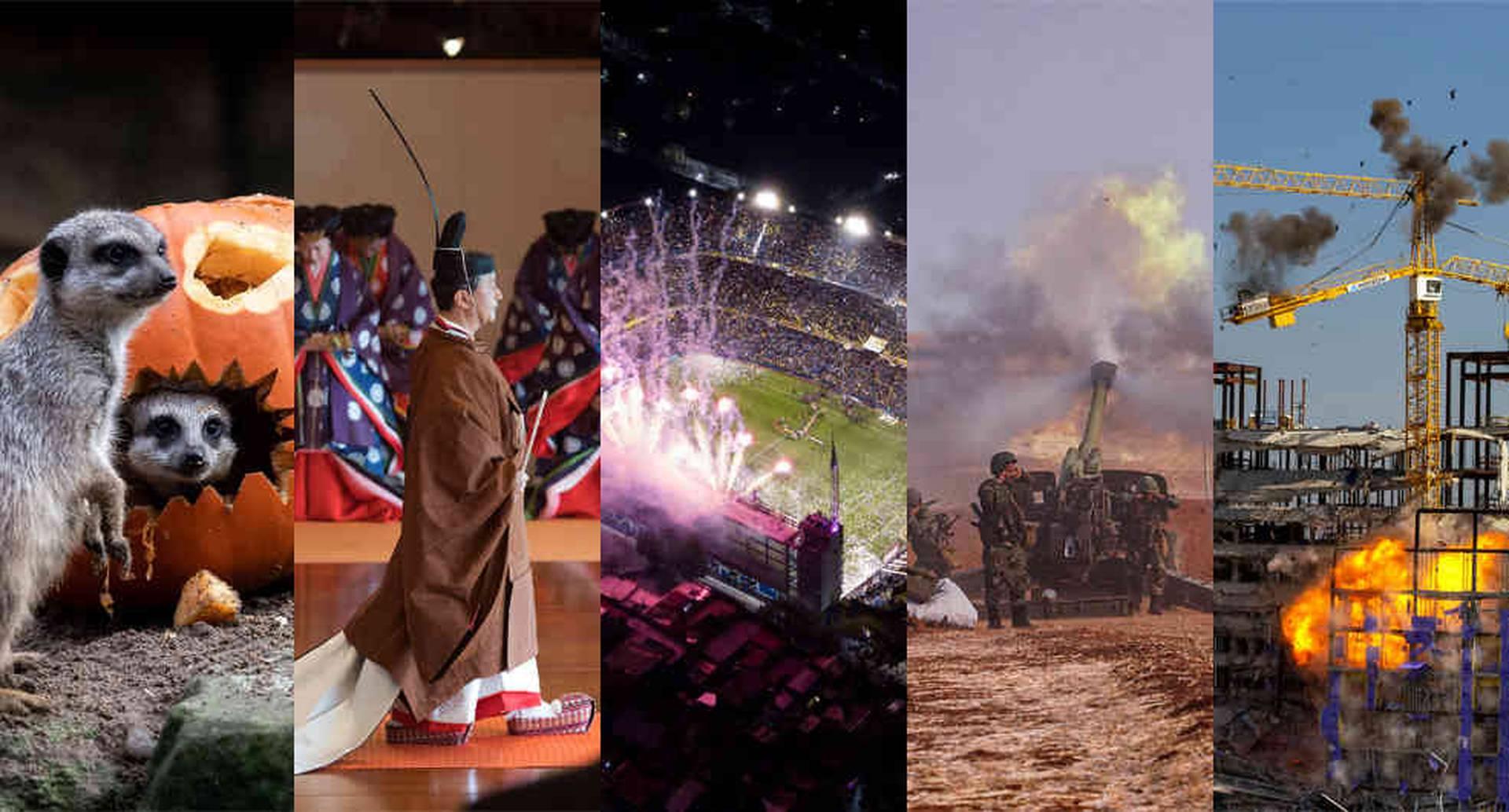 La ascensión del emperador japonés Naruhito al trono, la exhumación del dictador español Francisco Franco y la semifinal de la Copa Libertadores en La Bombonera son algunos de los hechos que nos dejan esta semana imágenes para el recuerdo. Fotos: AP / AFP