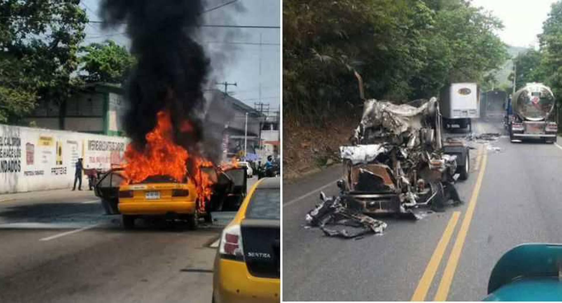 Vehículos quemados en Montelíbano y Puerto Libertador (Córdoba). Foto: Archivo particular.