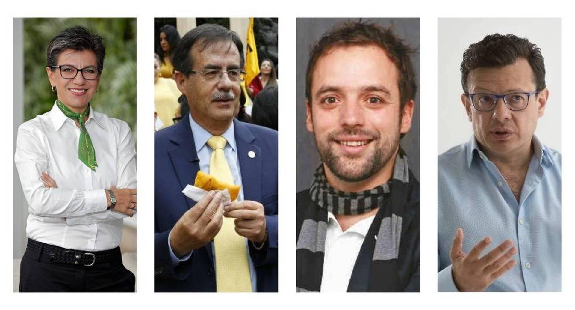 Claudia López (Alianza Verde), Celio Nieves (Polo), Luis Ernesto Gómez (Activista), Hollman Morris (Mais)
