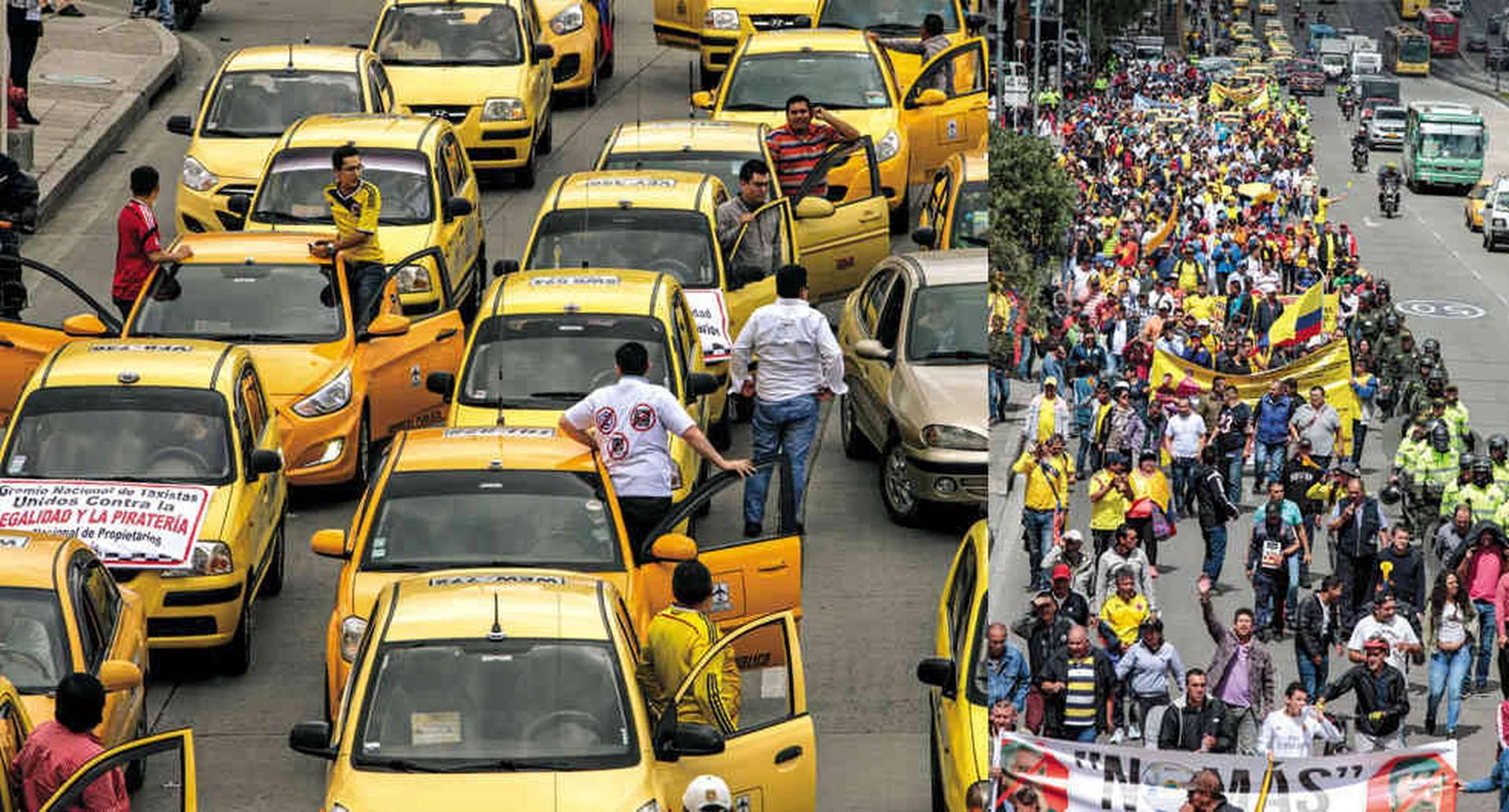 Ya son frecuentes las protestas de los taxistas contra las plataformas digitales. Pero no hay solución a la vista.