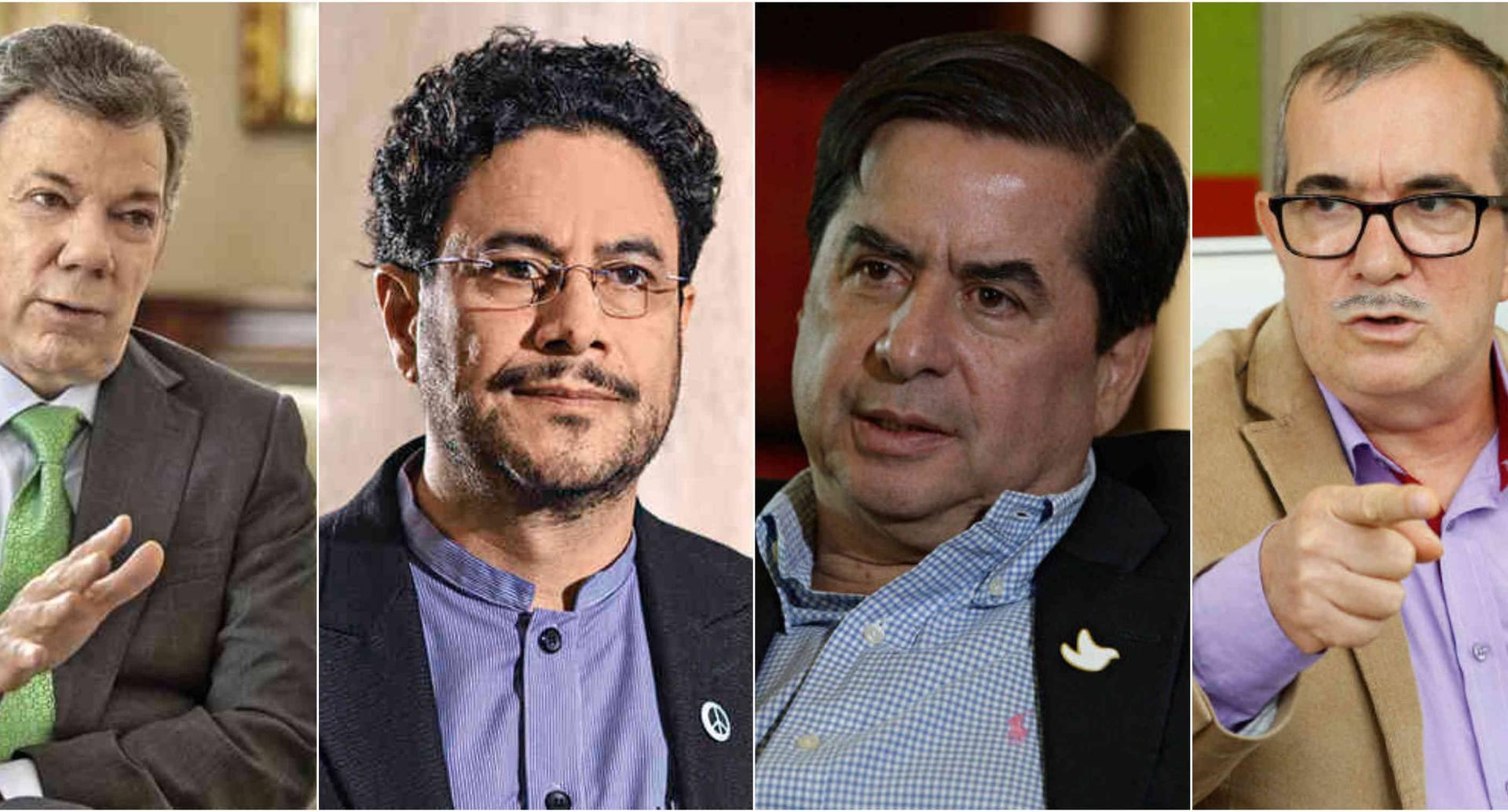 Juan Manuel Santos, Iván Cepeda, Juan Fernando Cristo y Rodrigo Londoño